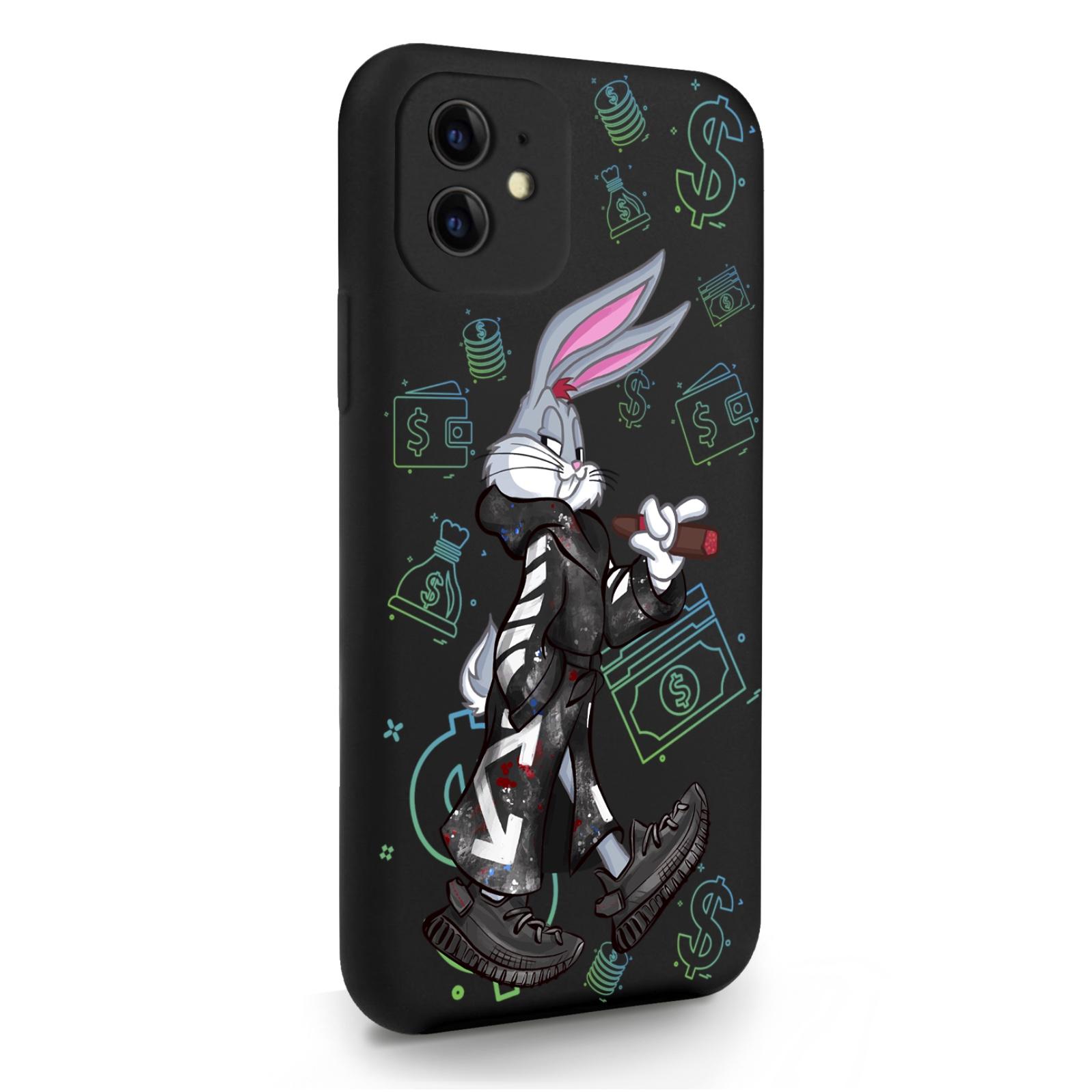 Черный силиконовый чехол для iPhone 11 Mr. Rich Bunny Neon/ Мистер Богатый Заяц Неон для Айфон 11