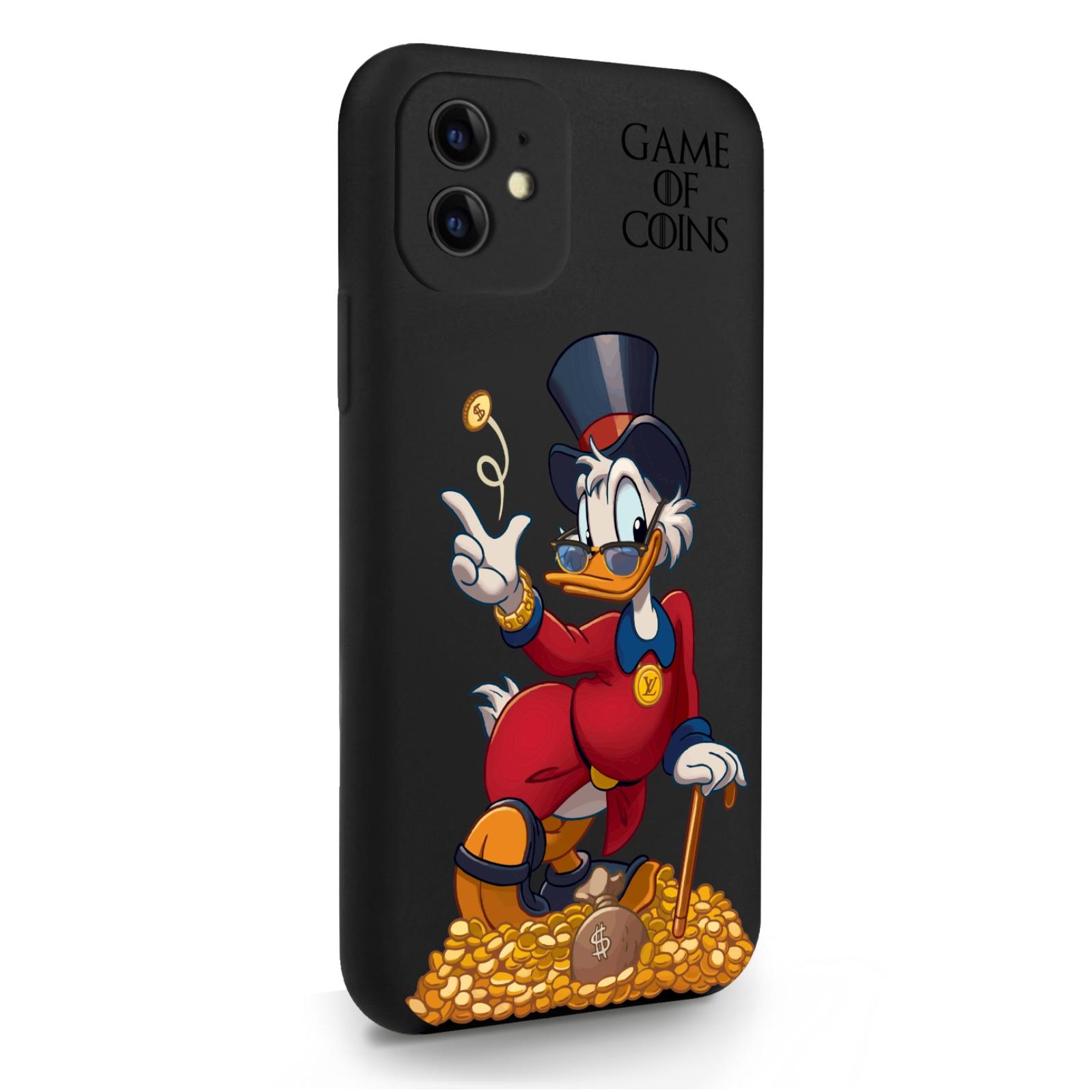 Черный силиконовый чехол для iPhone 11 Богатая Утка Игра монет для Айфон 11