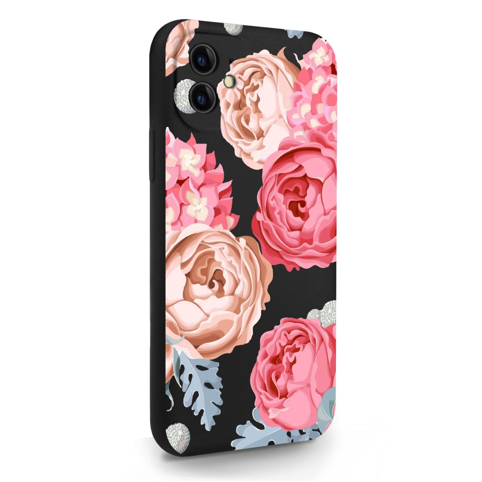 Черный силиконовый чехол для iPhone 11 Пионы для Айфон 11
