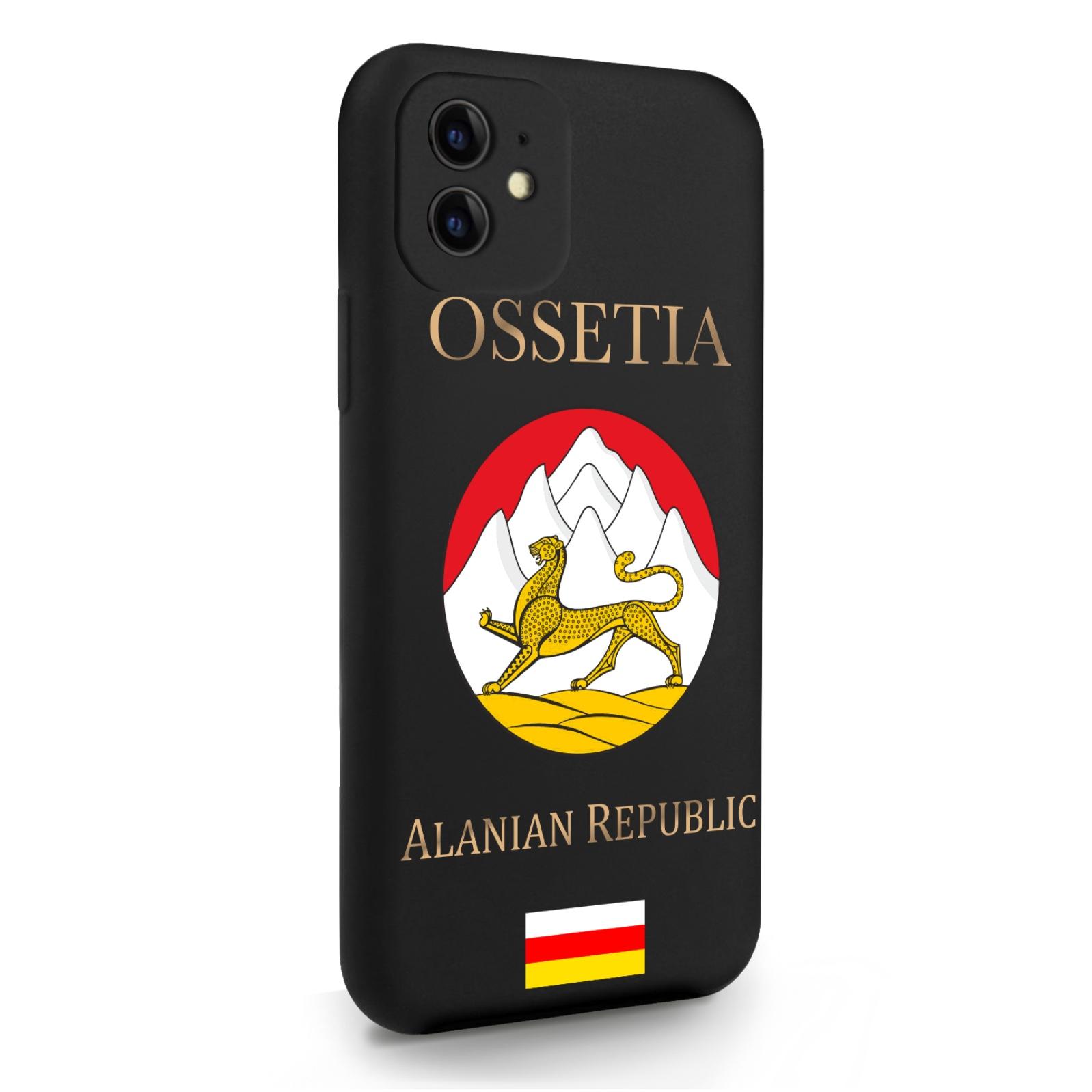 Черный силиконовый чехол для iPhone 11 Герб Северной Осетии для Айфон 11