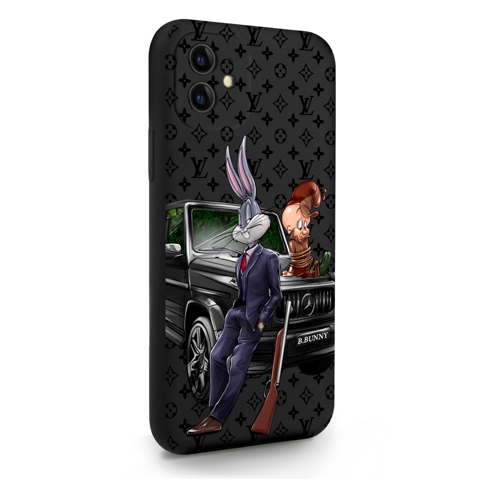 Черный силиконовый чехол для iPhone 11 Мистер Богатый Заяц Бизнес/ Mr. Rich Bunny Business для Айфон 11
