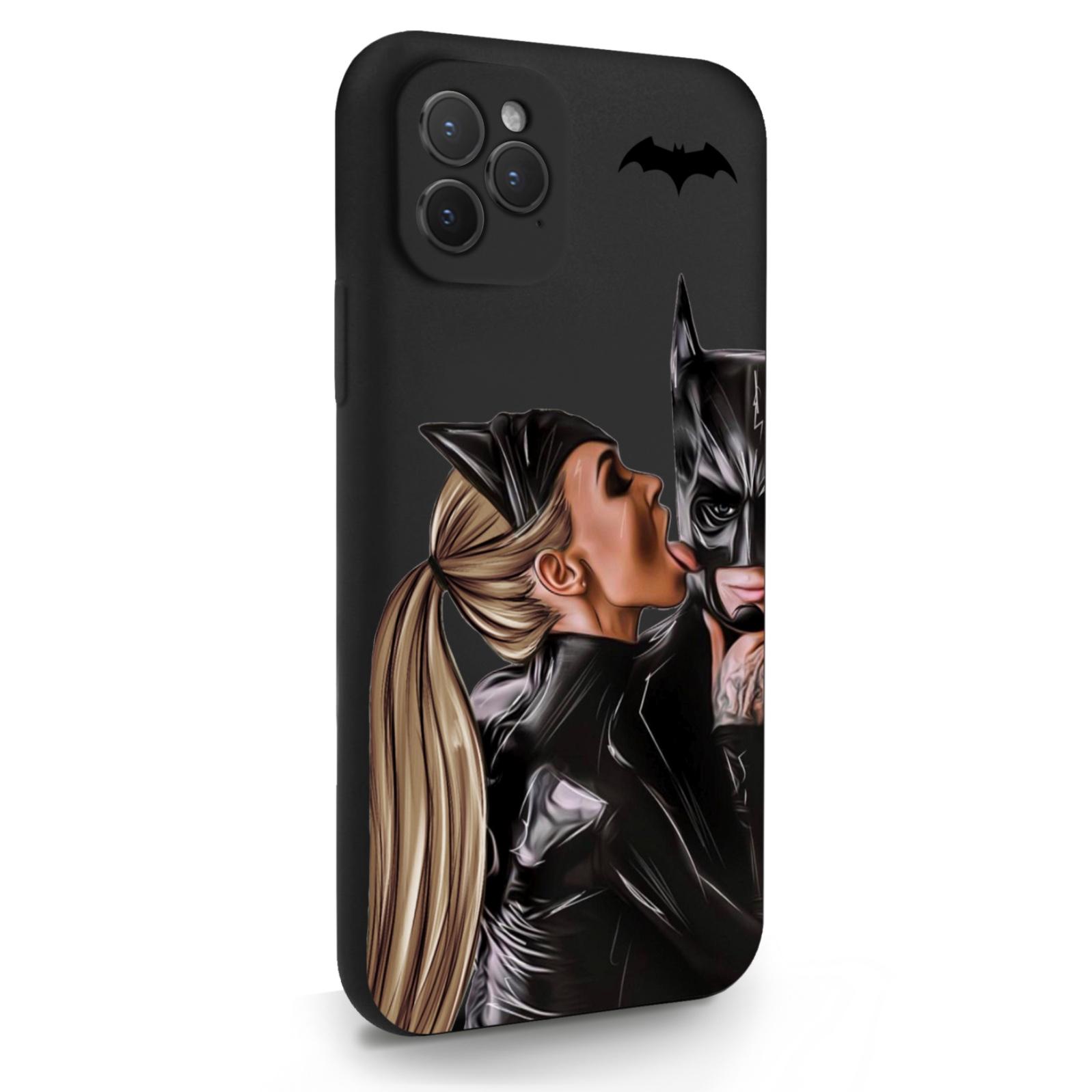 Черный силиконовый чехол для iPhone 11 Pro Cat Woman/ Женщина-кошка и бэтмен для Айфон 11 Про
