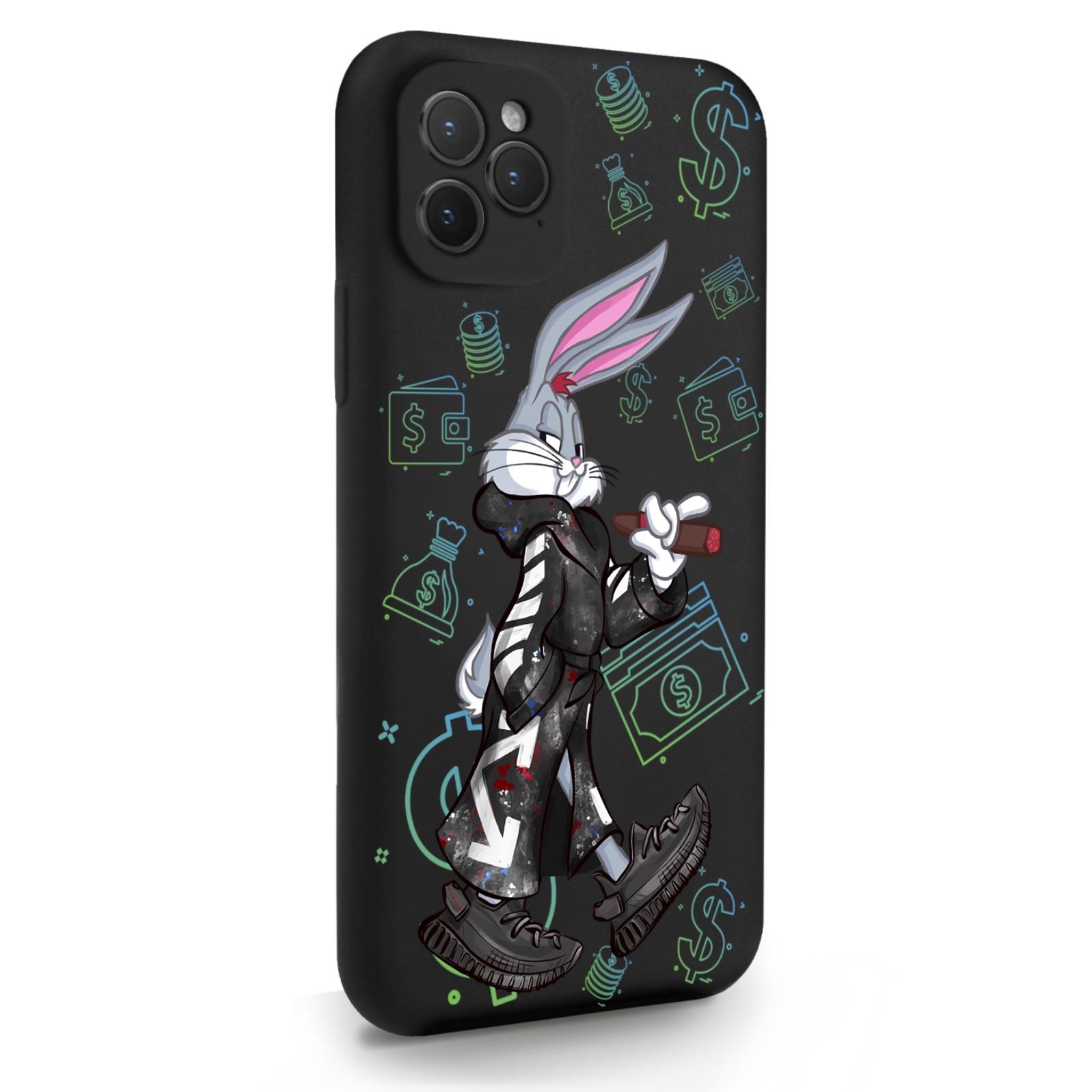 Черный силиконовый чехол для iPhone 11 Pro Mr. Rich Bunny Neon/ Мистер Богатый Заяц Неон для Айфон 11 Про