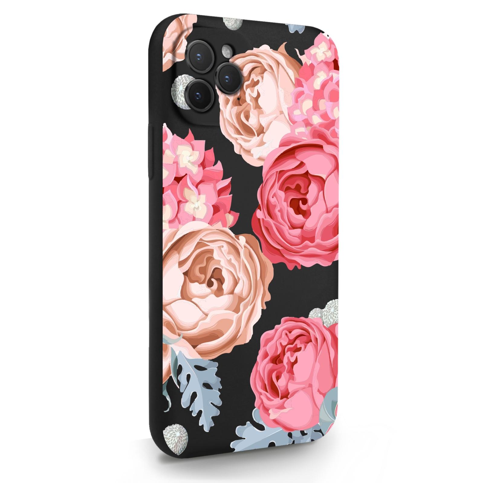 Черный силиконовый чехол для iPhone 11 Pro Пионы для Айфон 11 Про