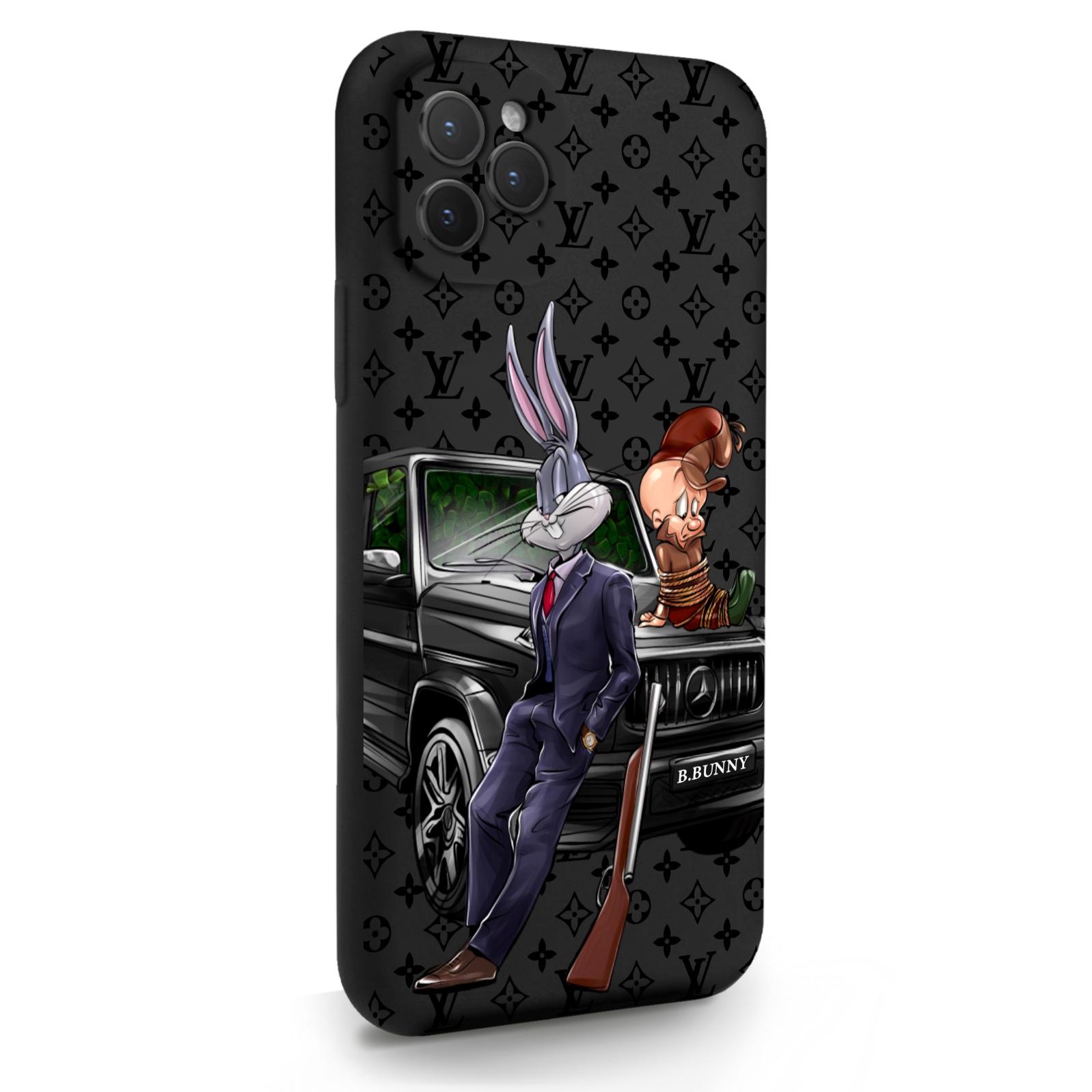 Черный силиконовый чехол для iPhone 11 Pro Мистер Богатый Заяц Бизнес/ Mr. Rich Bunny Business для Айфон 11 Про