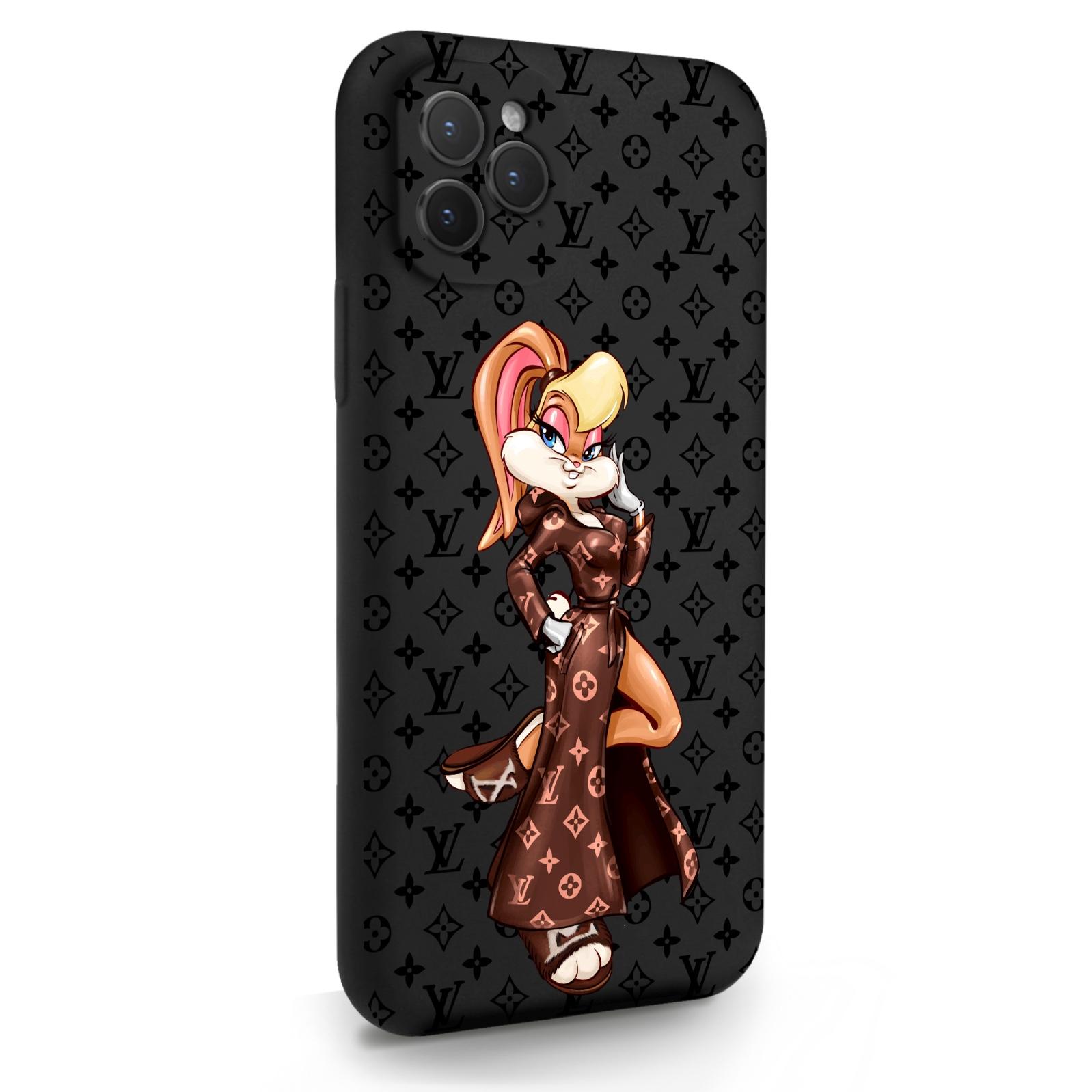 Черный силиконовый чехол для iPhone 11 Pro Миссис Богатая Зайка Релакс LV/ Mrs. Rich Bunny Relax LV для Айфон 11 Про