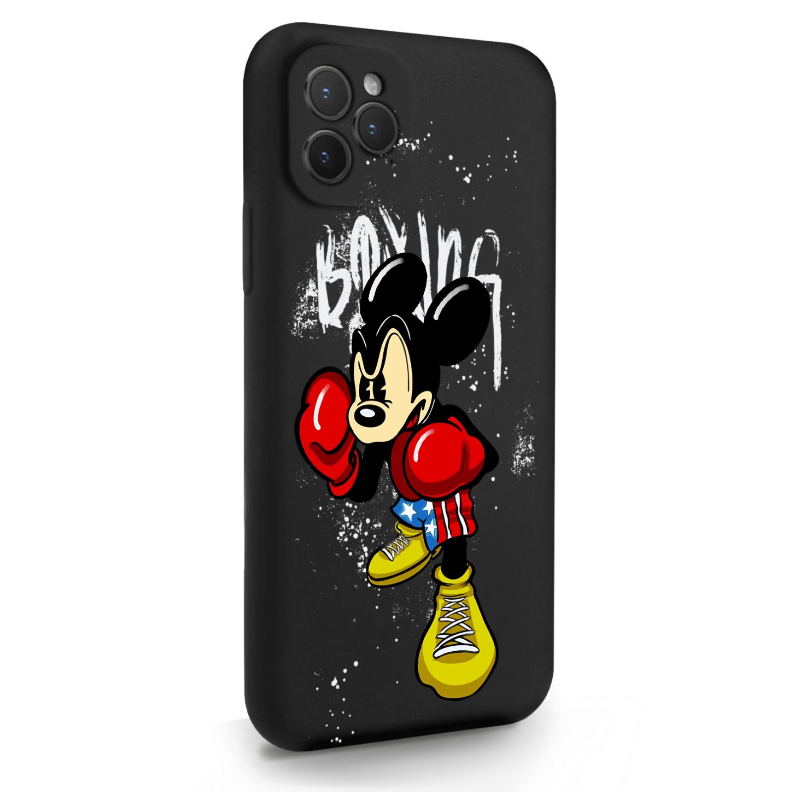 Черный силиконовый чехол для iPhone 11 Pro Мышонок Боксер для Айфон 11 Про