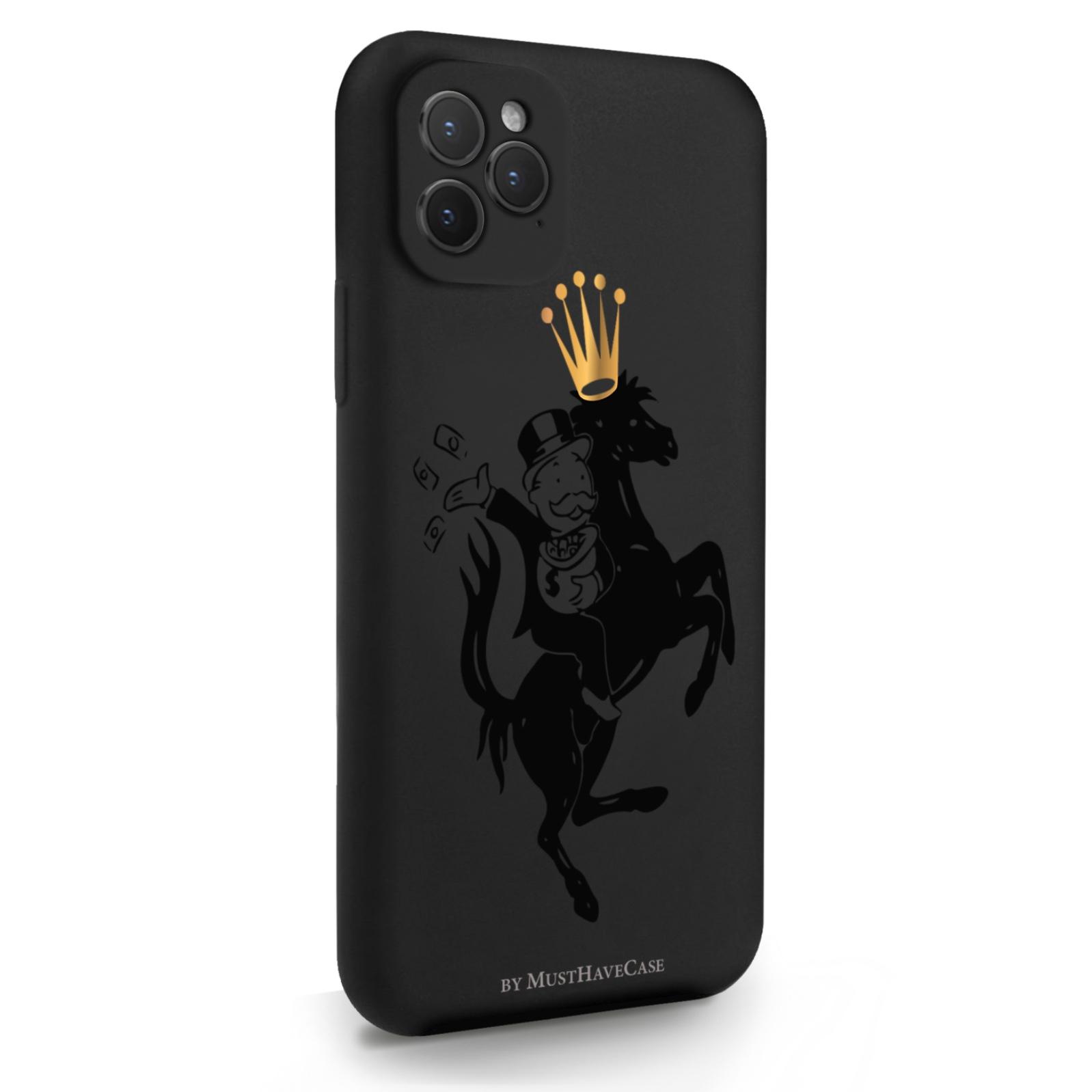Черный силиконовый чехол для iPhone 11 Pro Monopoly на коне для Айфон 11 Про