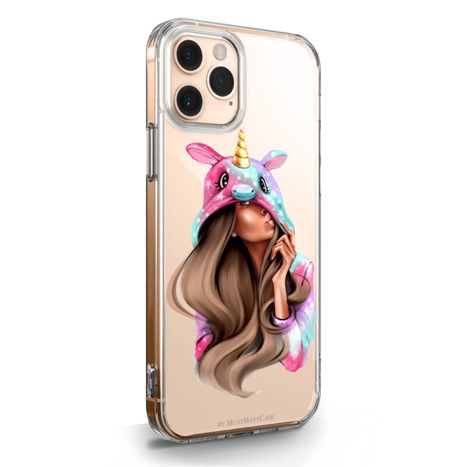 Прозрачный силиконовый чехол для iPhone 11 Pro Unicorn Girl/ Единорог для Айфон 11 Про