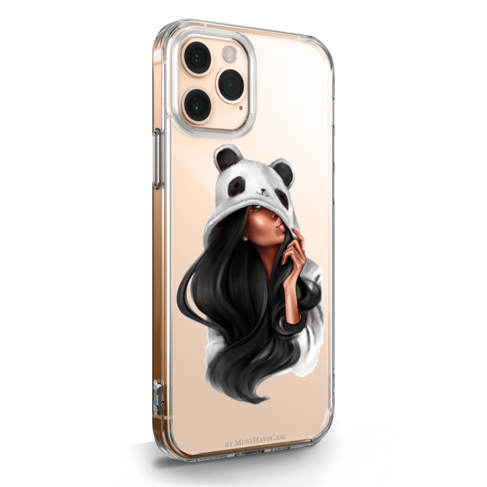 Прозрачный силиконовый чехол для iPhone 11 Pro Panda Girl/ Панда для Айфон 11 Про