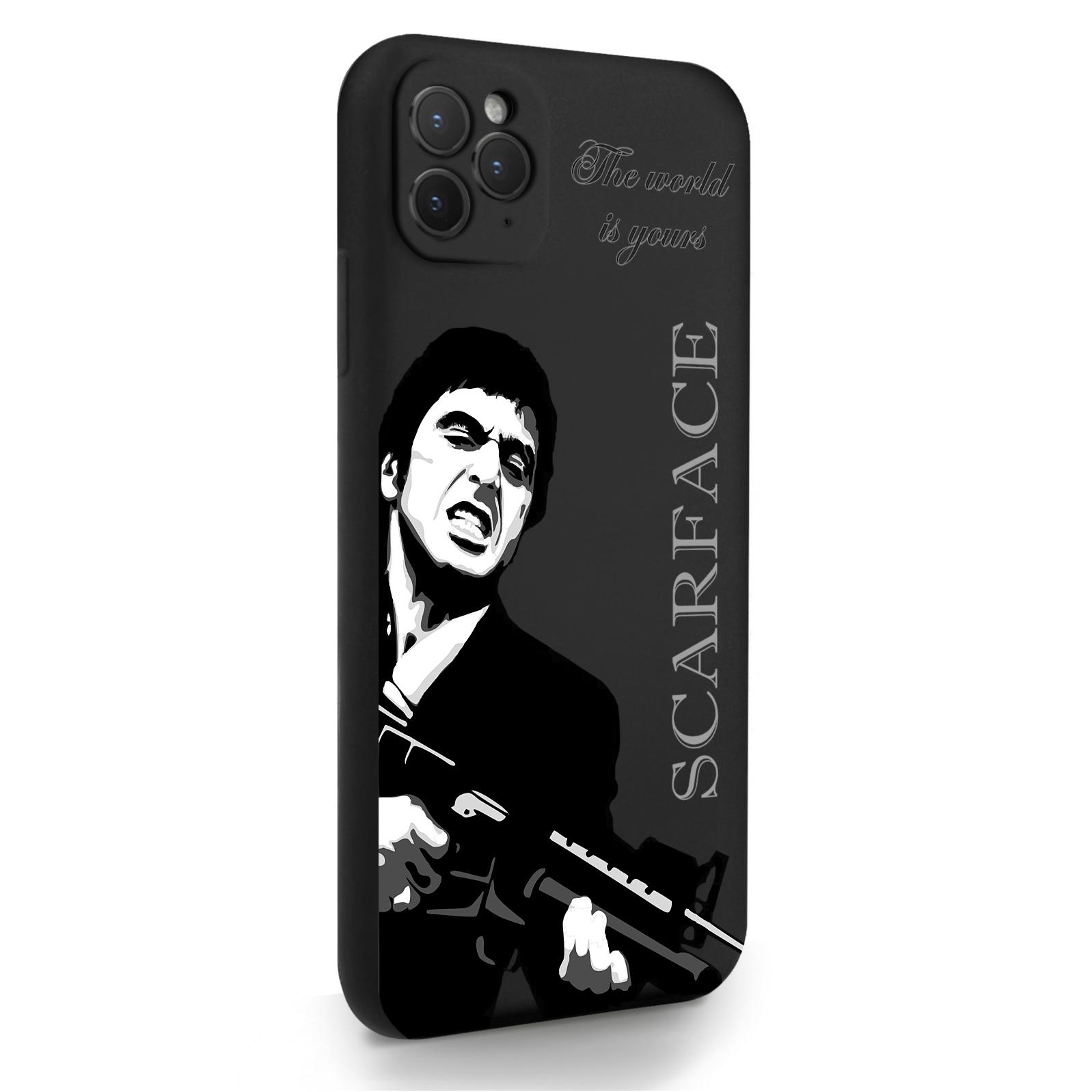 Черный силиконовый чехол для iPhone 11 Pro Max Scarface Tony Montana/ Лицо со шрамом для Айфон 11 Про Макс
