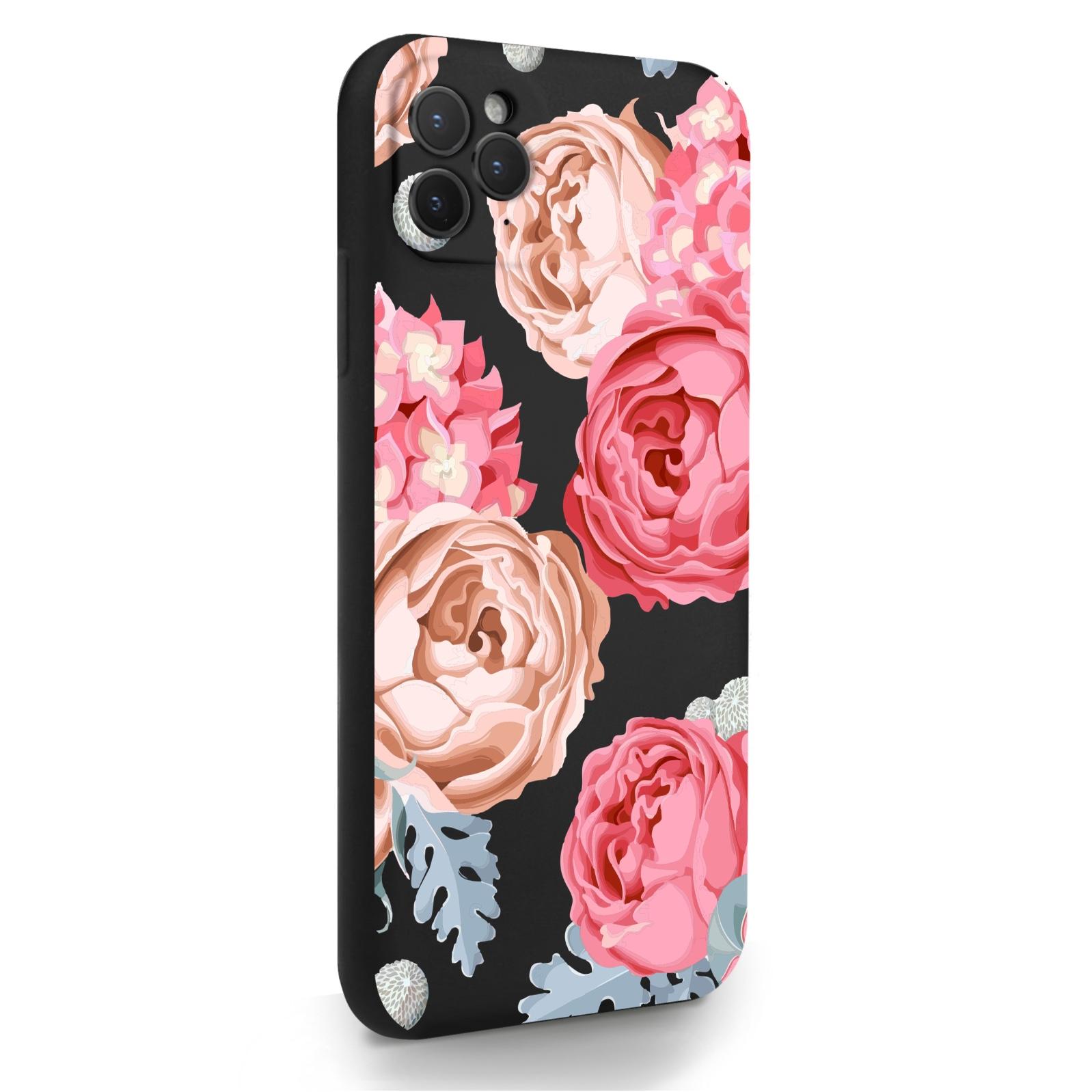 Черный силиконовый чехол для iPhone 11 Pro Max Пионы для Айфон 11 Про Макс
