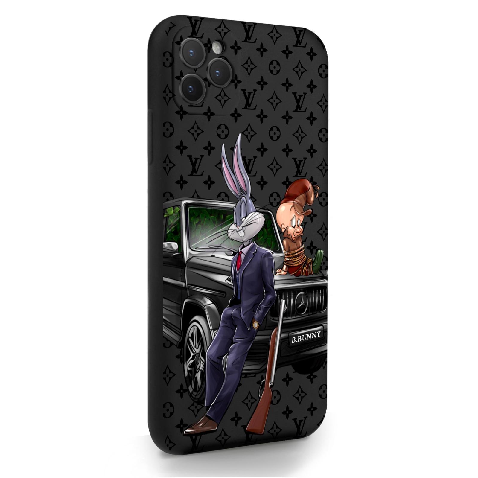 Черный силиконовый чехол для iPhone 11 Pro Max Мистер Богатый Заяц Бизнес/ Mr. Rich Bunny Business для Айфон 11 Про Макс