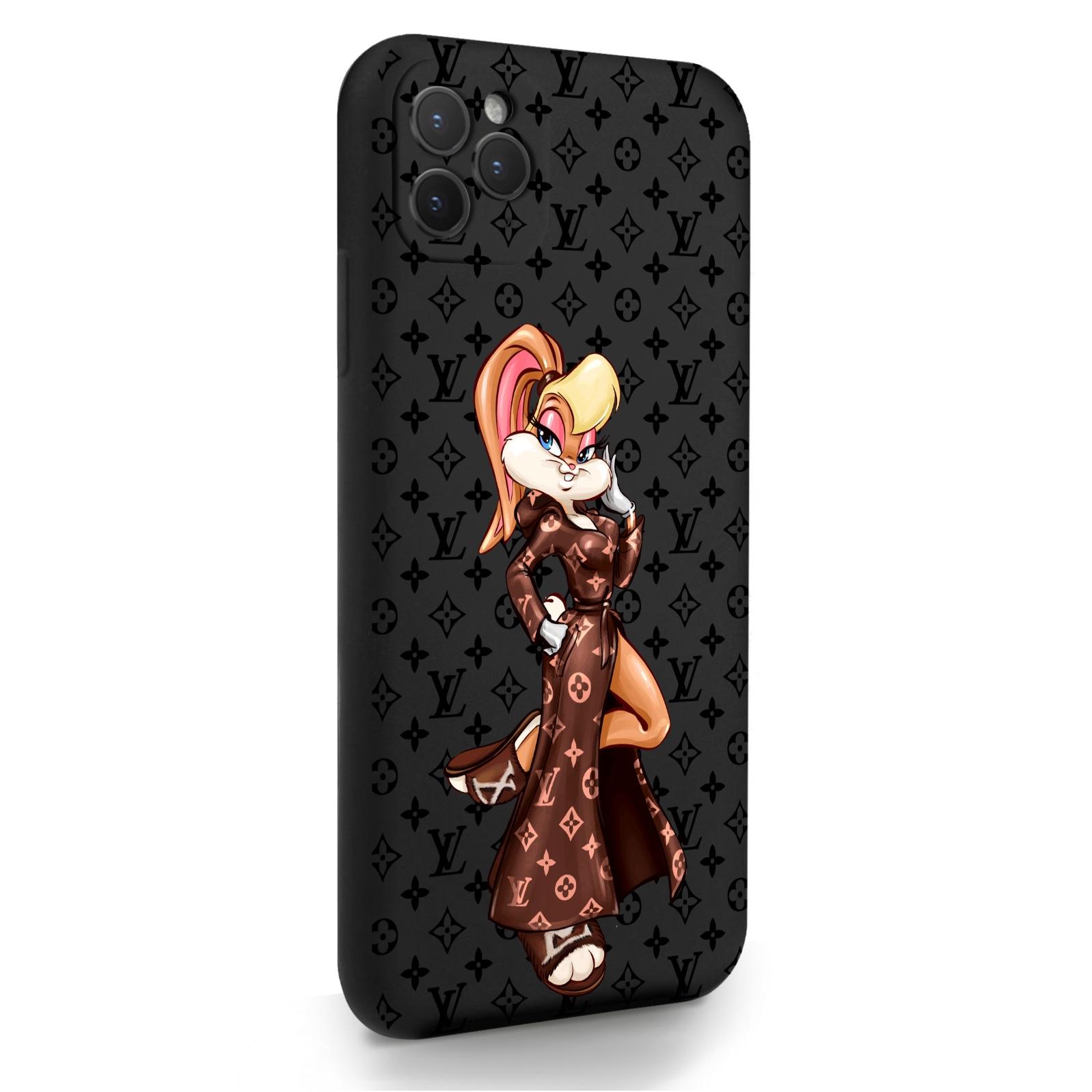 Черный силиконовый чехол для iPhone 11 Pro Max Миссис Богатая Зайка Релакс LV/ Mrs. Rich Bunny Relax LV для Айфон 11 Про Макс