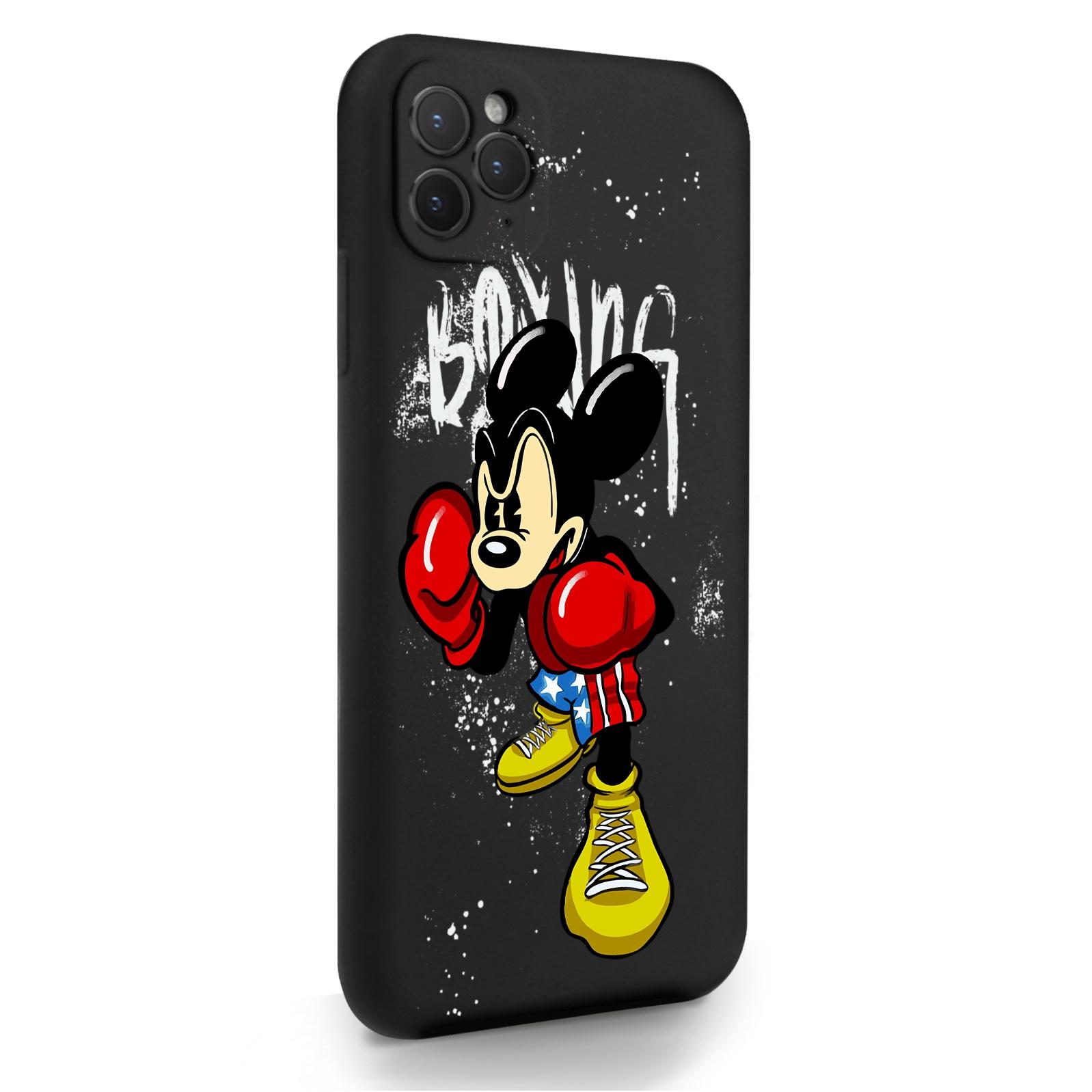Черный силиконовый чехол для iPhone 11 Pro Max Мышонок Боксер для Айфон 11 Про Макс