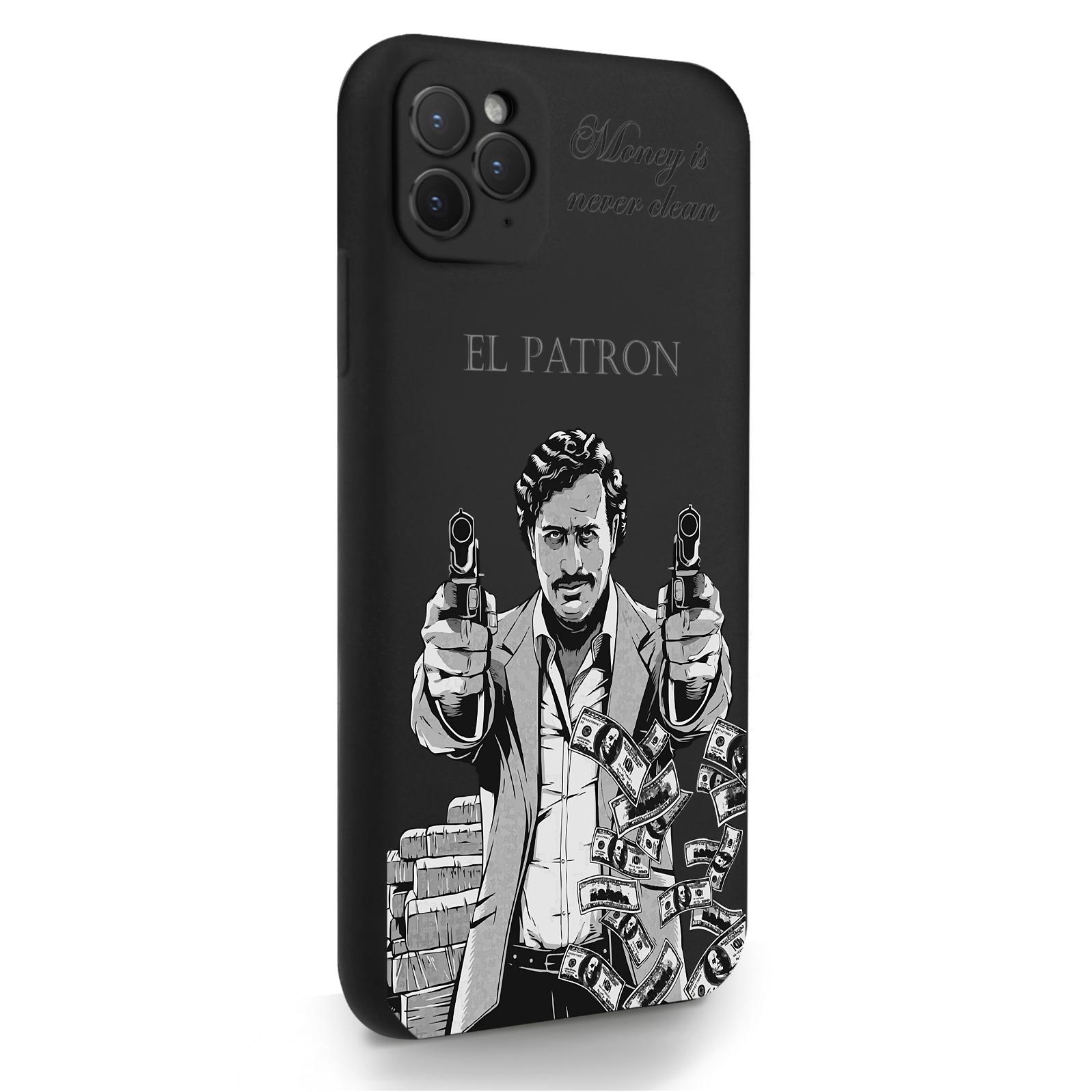 Черный силиконовый чехол для iPhone 11 Pro Max El Patron Pablo Escobar/ Пабло Эскобар для Айфон 11 Про Макс