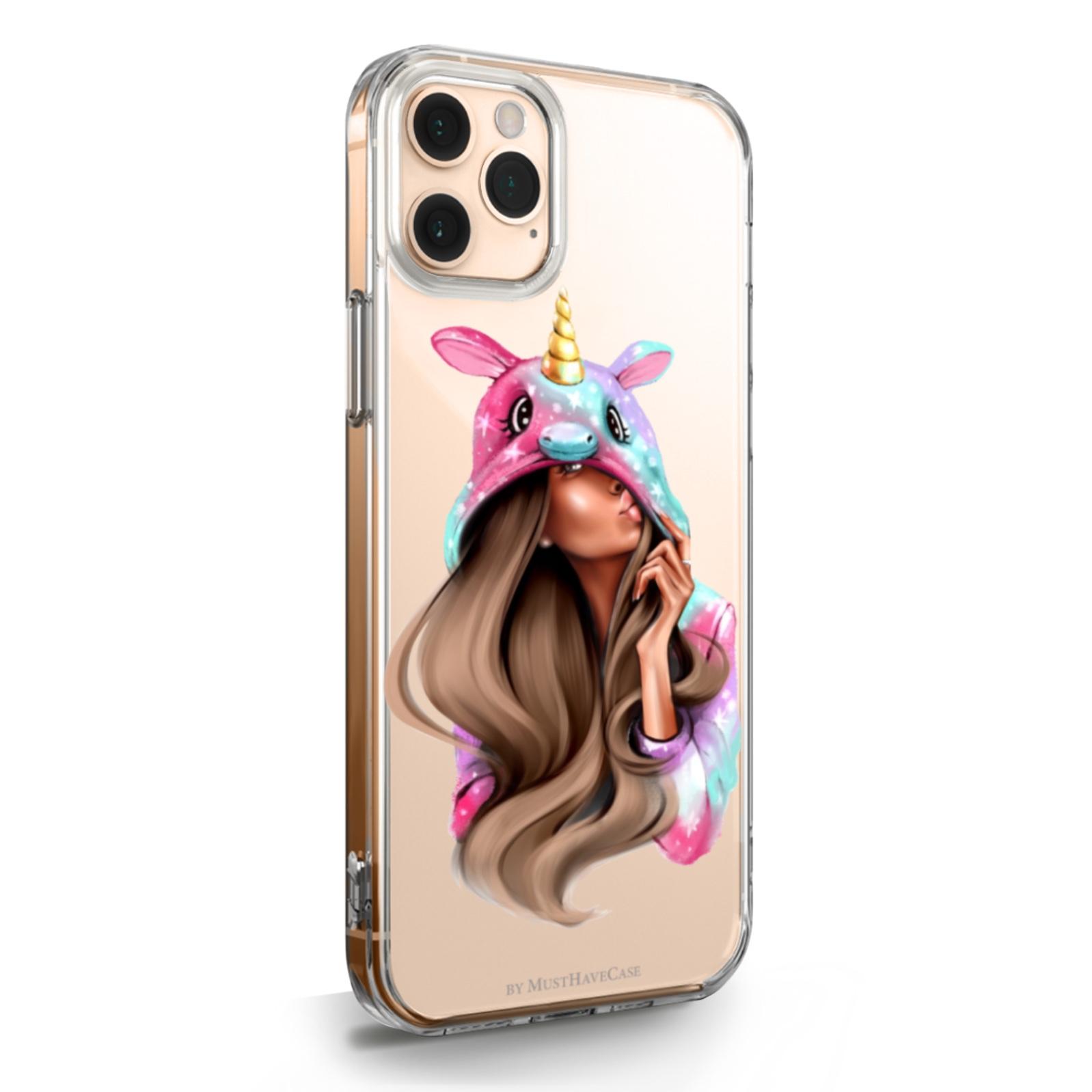 Прозрачный силиконовый чехол для iPhone 11 Pro Max Unicorn Girl/ Единорог для Айфон 11 Про Макс