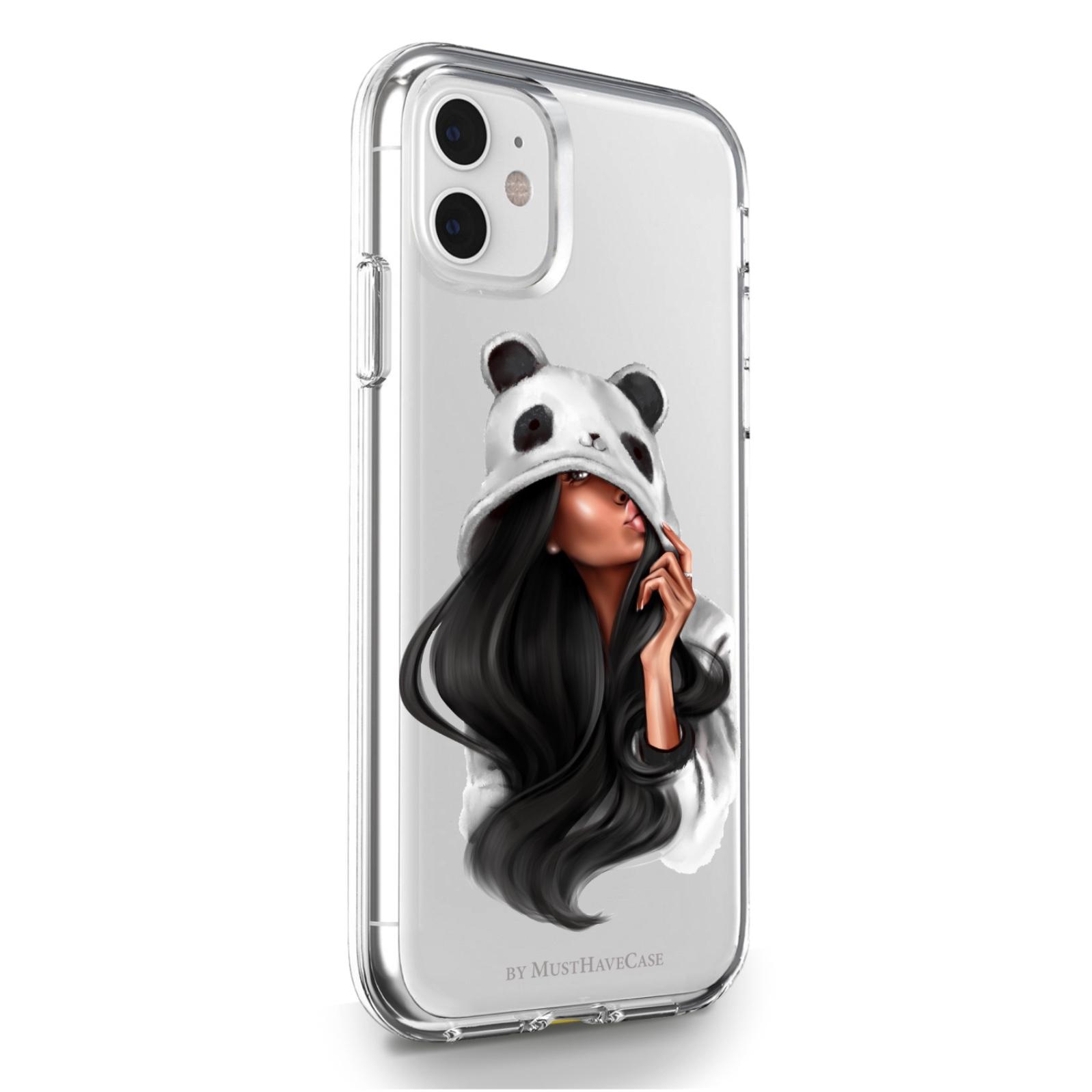 Прозрачный силиконовый чехол для iPhone 11 Panda Girl/ Панда для Айфон 11