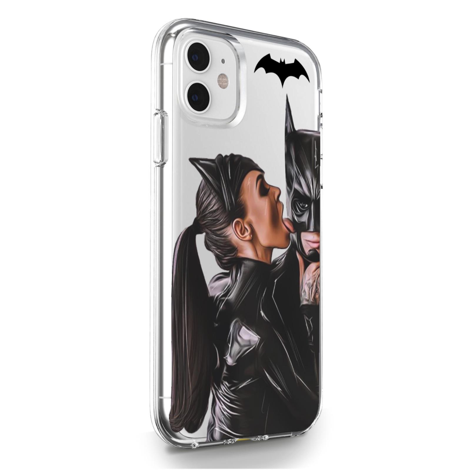Прозрачный силиконовый чехол для iPhone 11 Cat Woman/ Женщина кошка Брюнетка для Айфон 11