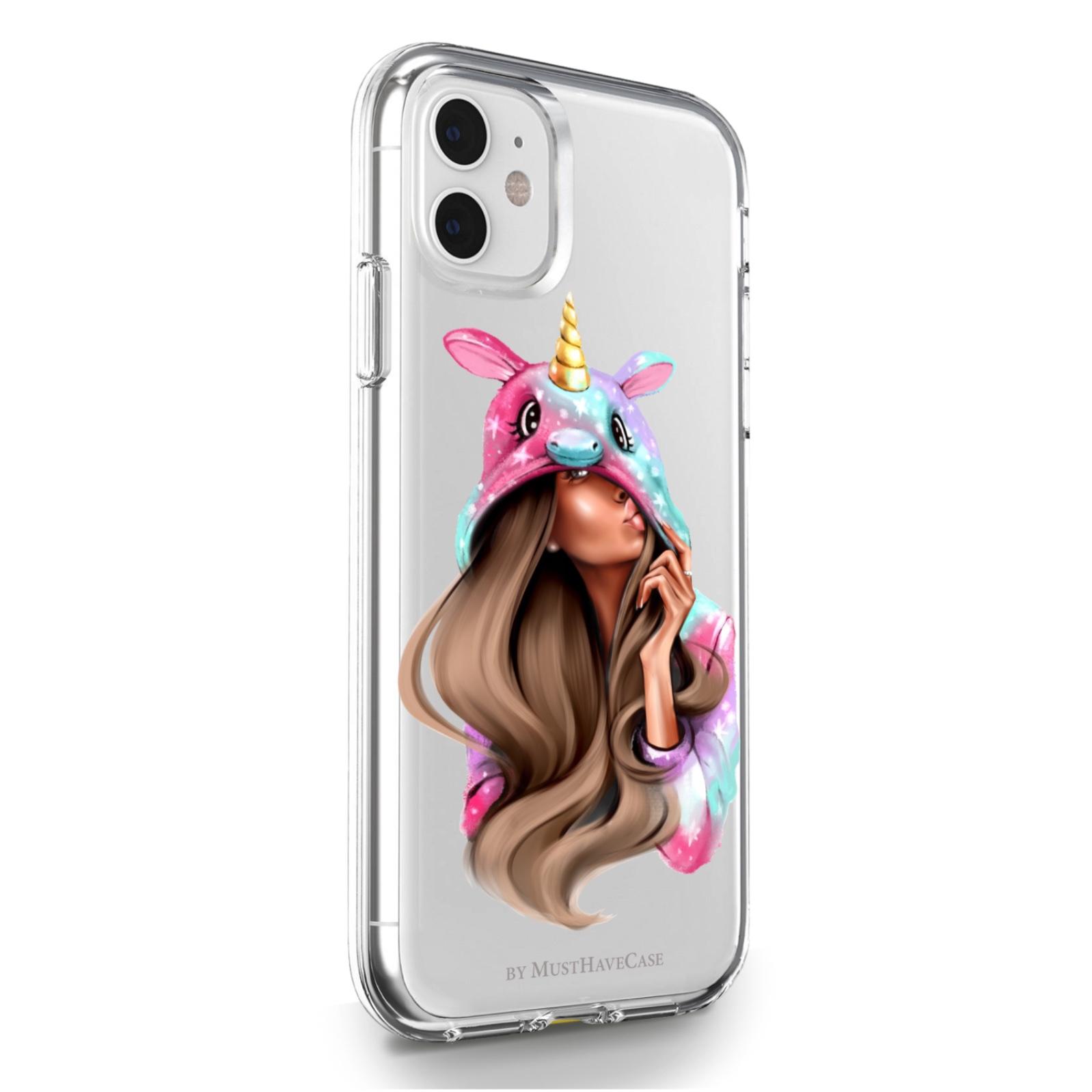 Прозрачный силиконовый чехол для iPhone 11 Unicorn Girl/ Единорог для Айфон 11