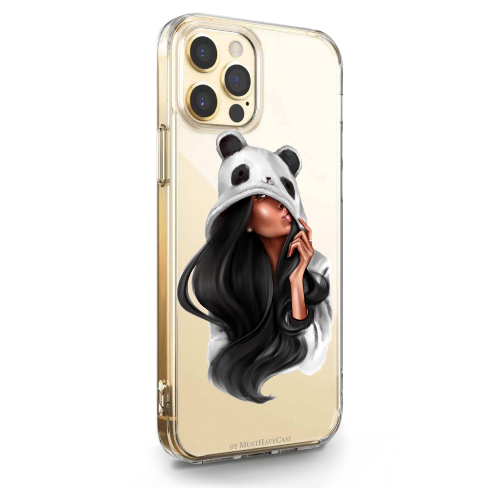 Прозрачный силиконовый чехол для iPhone 12/12 Pro Panda Girl/ Панда для Айфон 12/12 Про