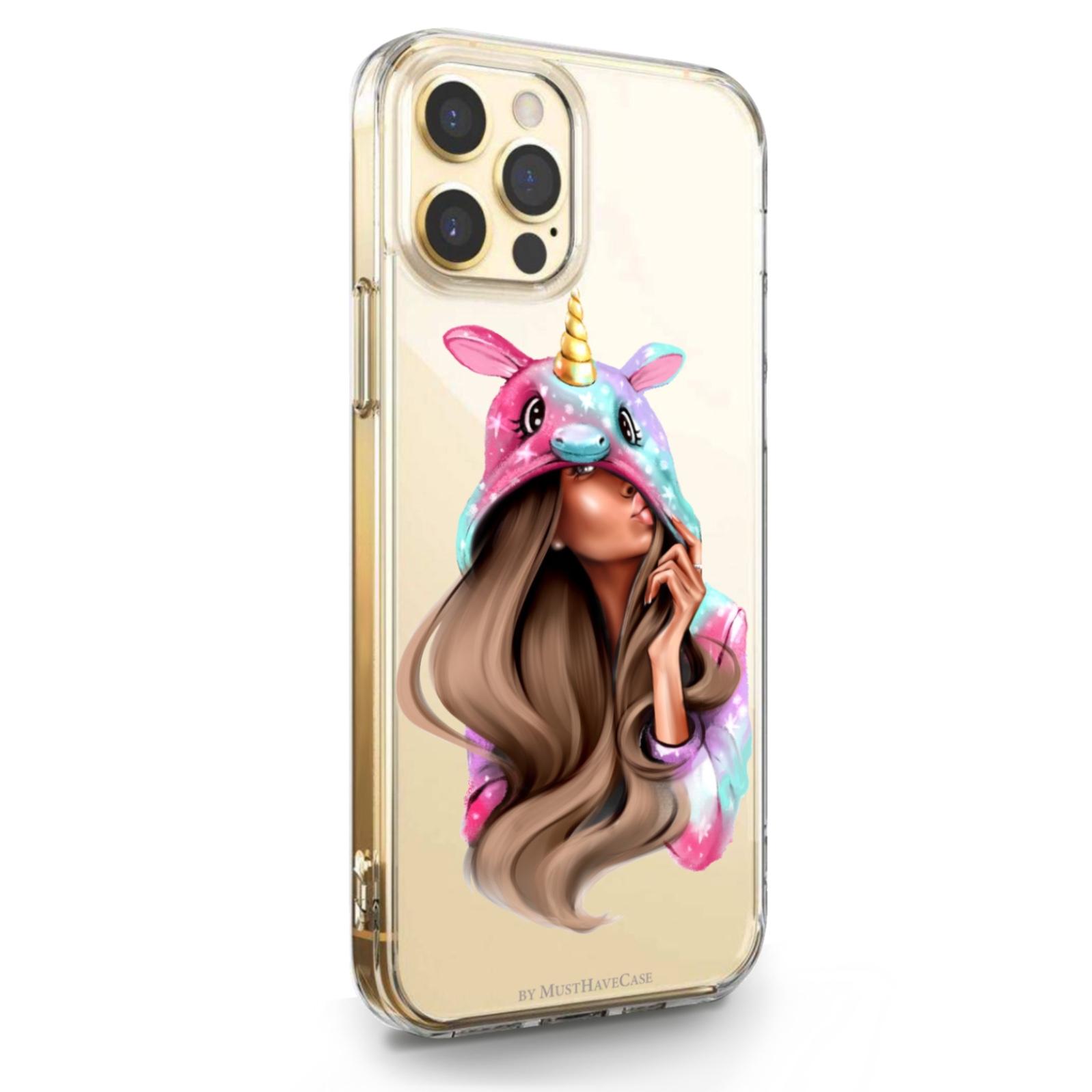 Прозрачный силиконовый чехол для iPhone 12/12 Pro Unicorn Girl/ Единорог для Айфон 12/12 Про