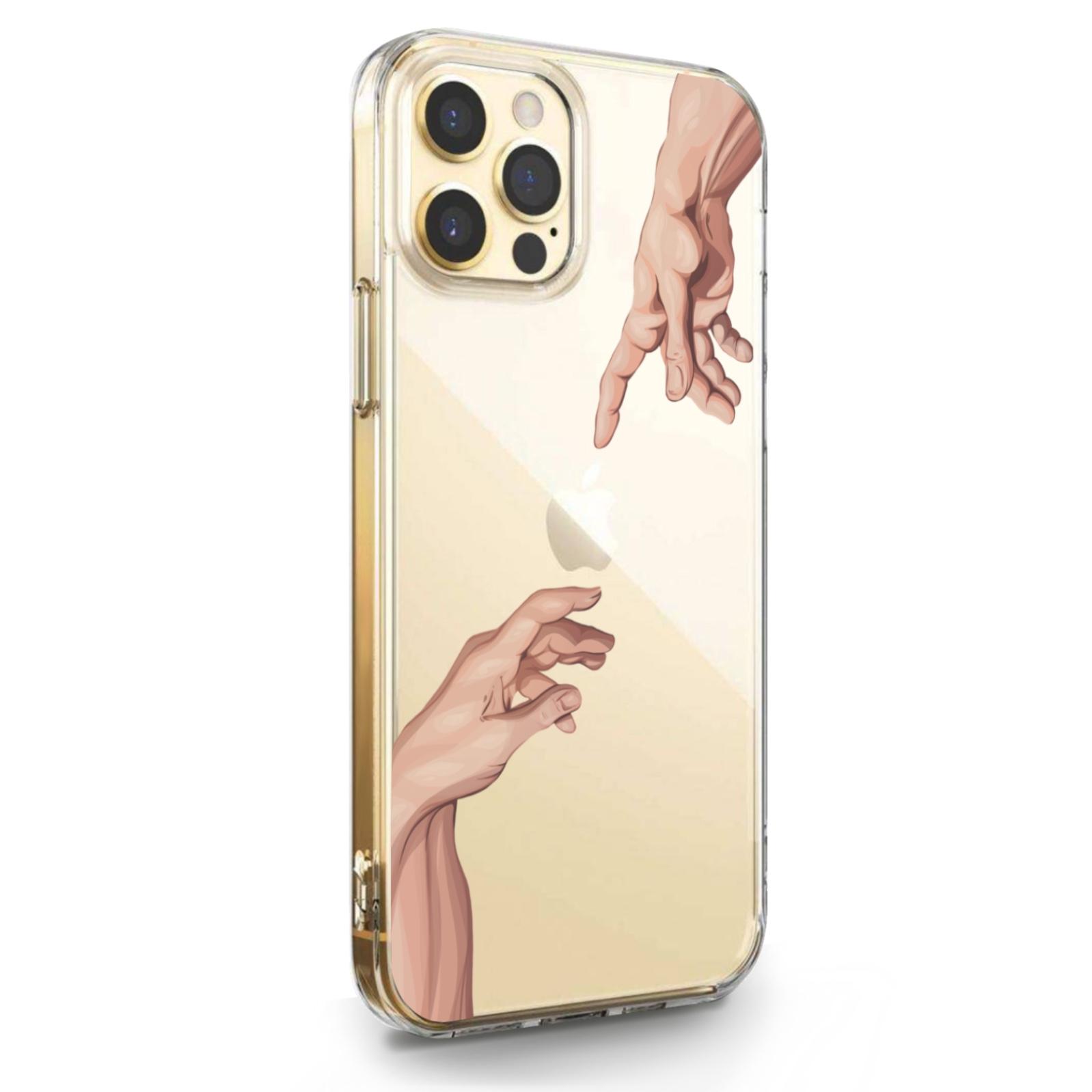 Прозрачный силиконовый чехол для iPhone 12/12 Pro Сотворение Адама для Айфон 12/12 Про