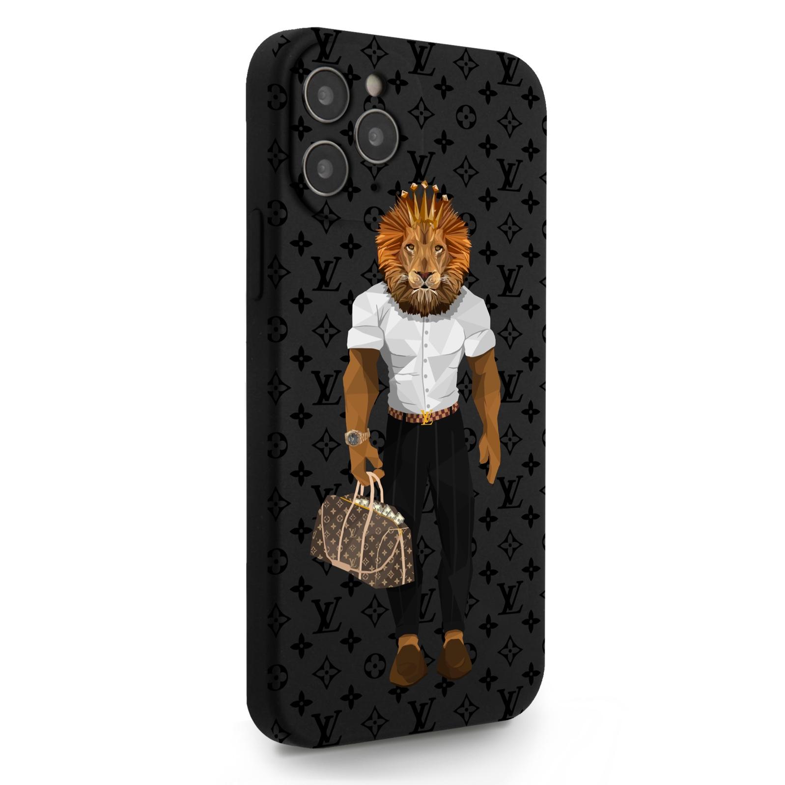 Черный силиконовый чехол для iPhone 12/12 Pro LV Lion для Айфон 12/12 Про