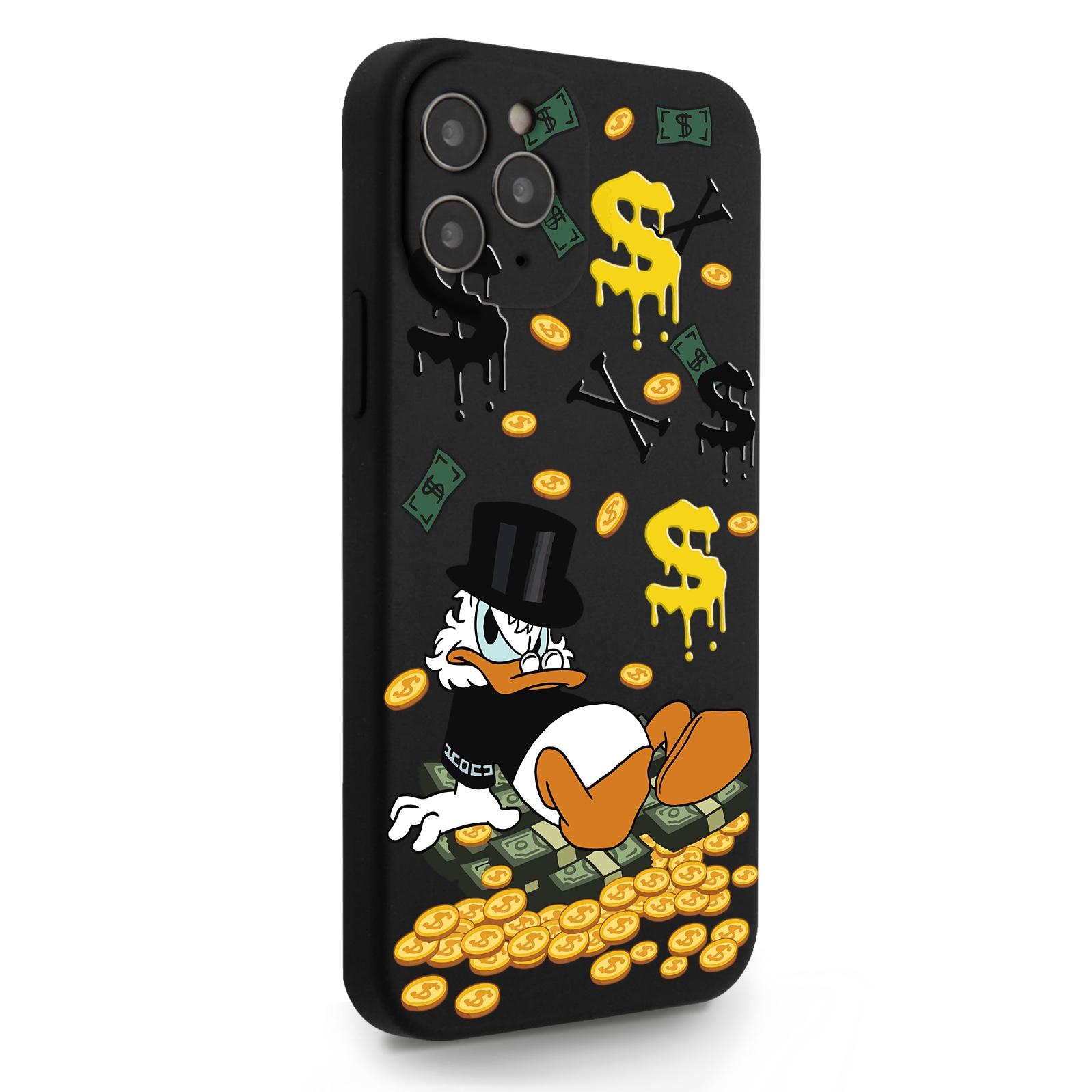 Черный силиконовый чехол для iPhone 12/12 Pro Богатенькая Утка для Айфон 12/12 Про