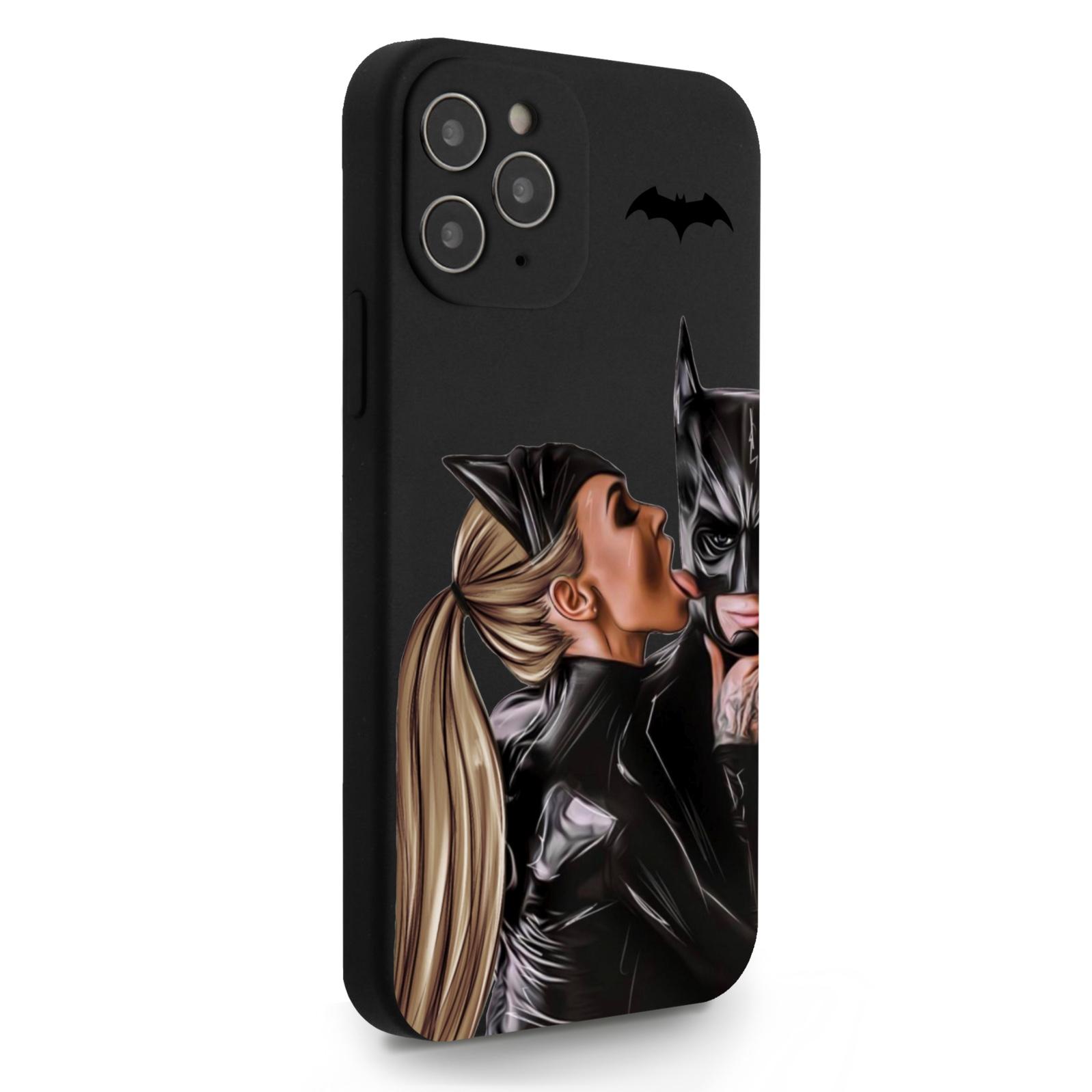 Черный силиконовый чехол для iPhone 12/12 Pro Cat Woman/ Женщина-кошка и бэтмен для Айфон 12/12 Про