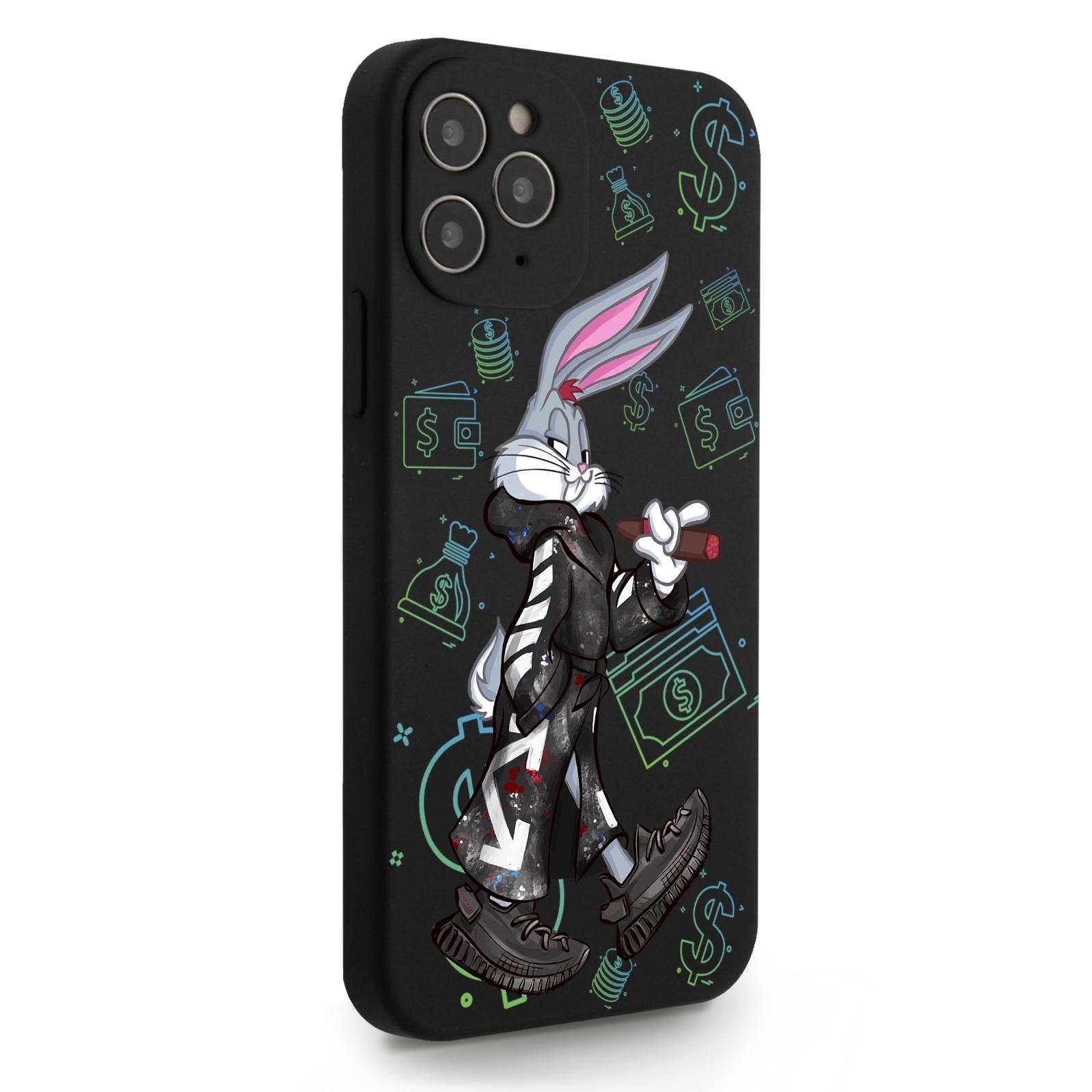 Черный силиконовый чехол для iPhone 12/12 Pro Mr. Rich Bunny Neon/ Мистер Богатый Заяц Неон для Айфон 12/12 Про