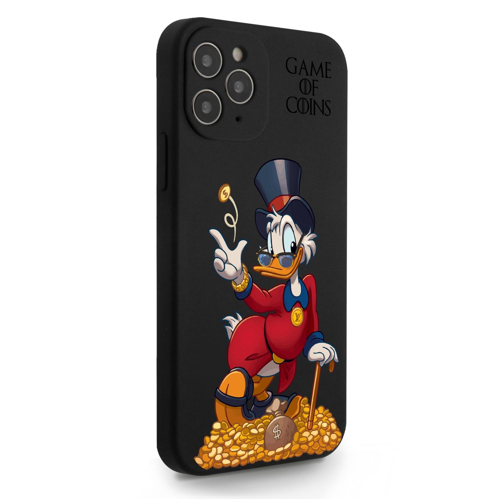 Черный силиконовый чехол для iPhone 12/12 Pro Богатая Утка Игра монет для Айфон 12/12 Про