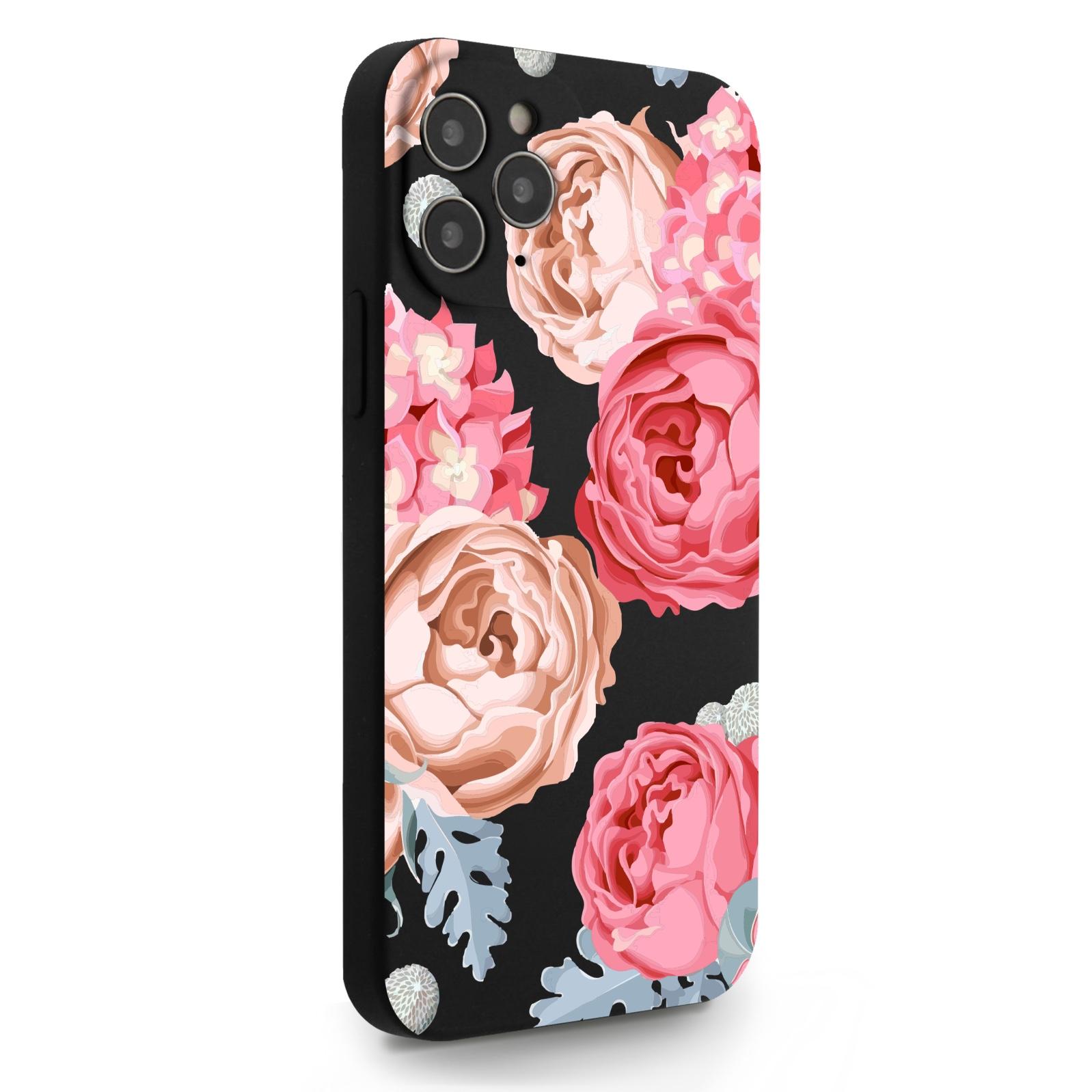 Черный силиконовый чехол для iPhone 12/12 Pro Пионы для Айфон 12/12 Про
