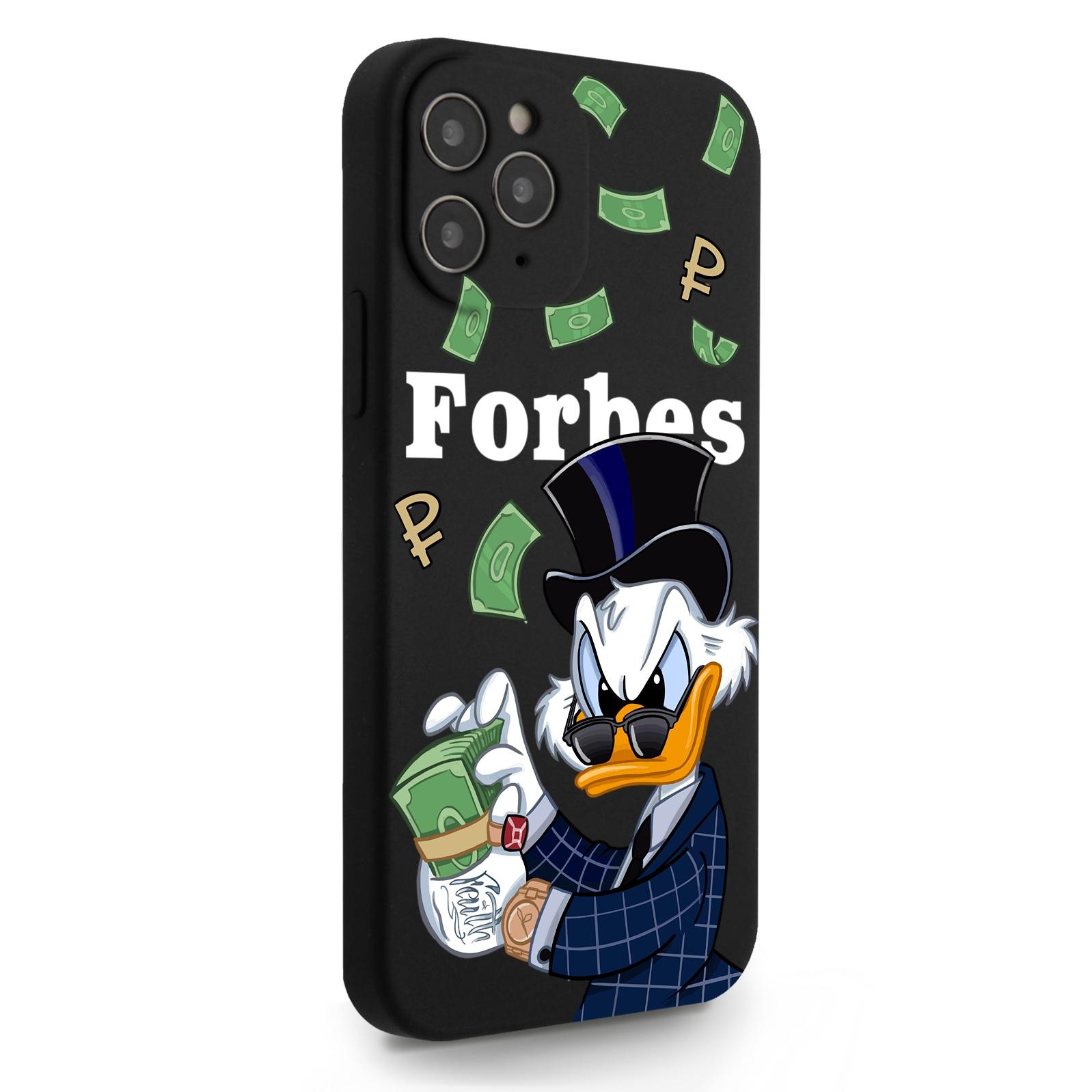 Черный силиконовый чехол для iPhone 12/12 Pro Богатая Утка с деньгами для Айфон 12/12 Про