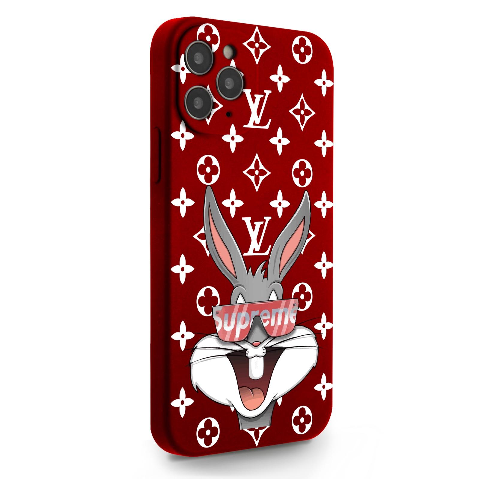Красный силиконовый чехол для iPhone 12/12 Pro Мистер Богатый Заяц Supreme/ Mr. Rich Bunny Supreme для Айфон 12/12 Про