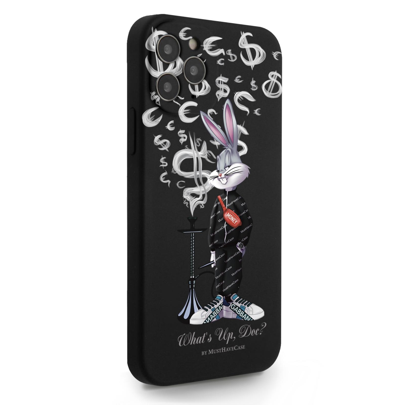 Черный силиконовый чехол для iPhone 12/12 Pro Mr. Rich Bunny Money Smoke/ Мистер Богатый Заяц Денежный Дым для Айфон 12/12 Про