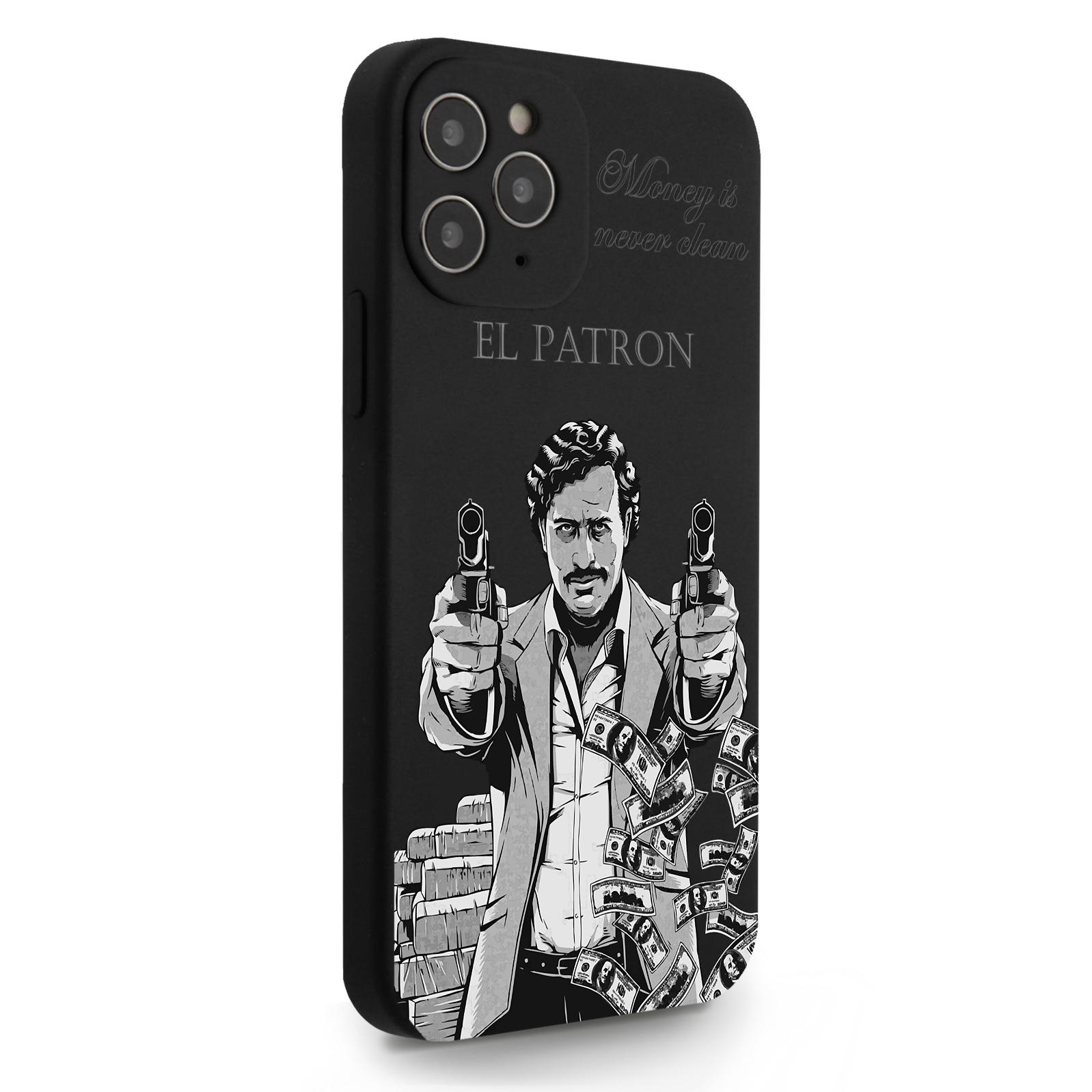 Черный силиконовый чехол для iPhone 12/12 Pro El Patron Pablo Escobar/ Пабло Эскобар для Айфон 12/12 Про