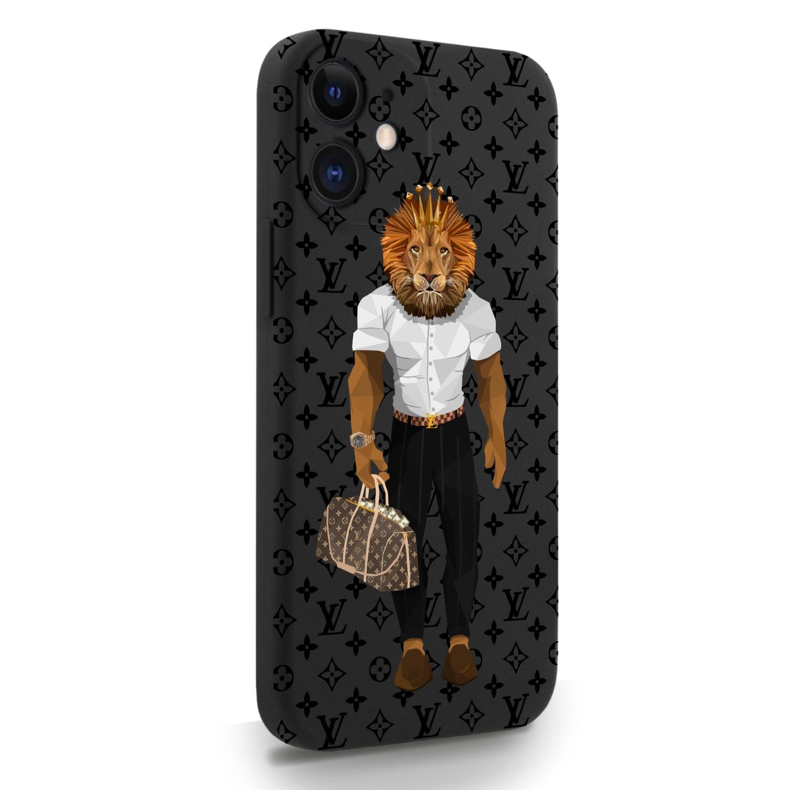 Черный силиконовый чехол для iPhone 12 Mini LV Lion для Айфон 12 Мини
