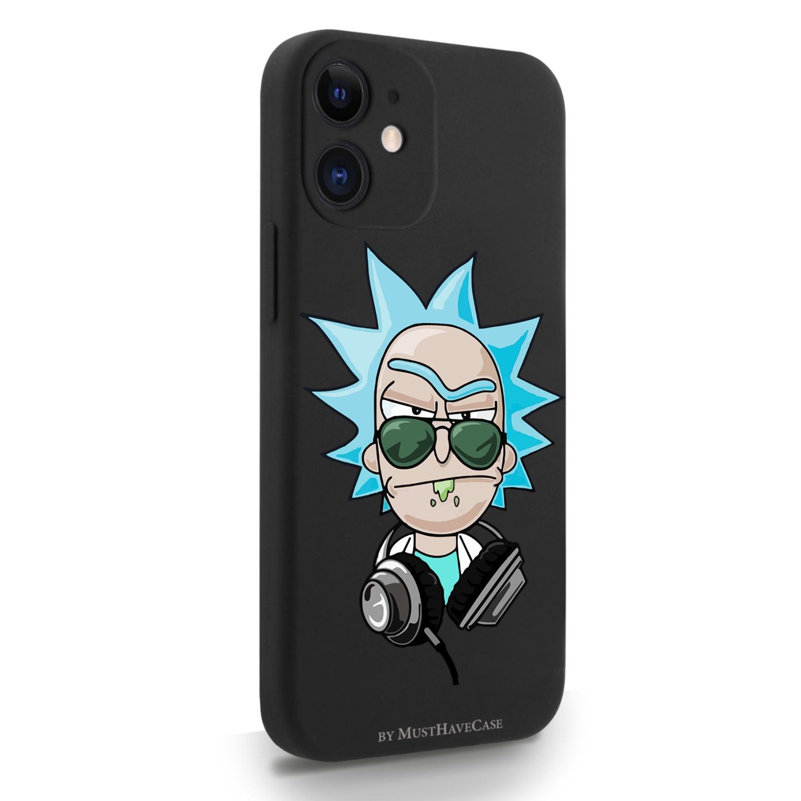 Черный силиконовый чехол для iPhone 12 Mini Rick/ Рик и морти для Айфон 12 Мини