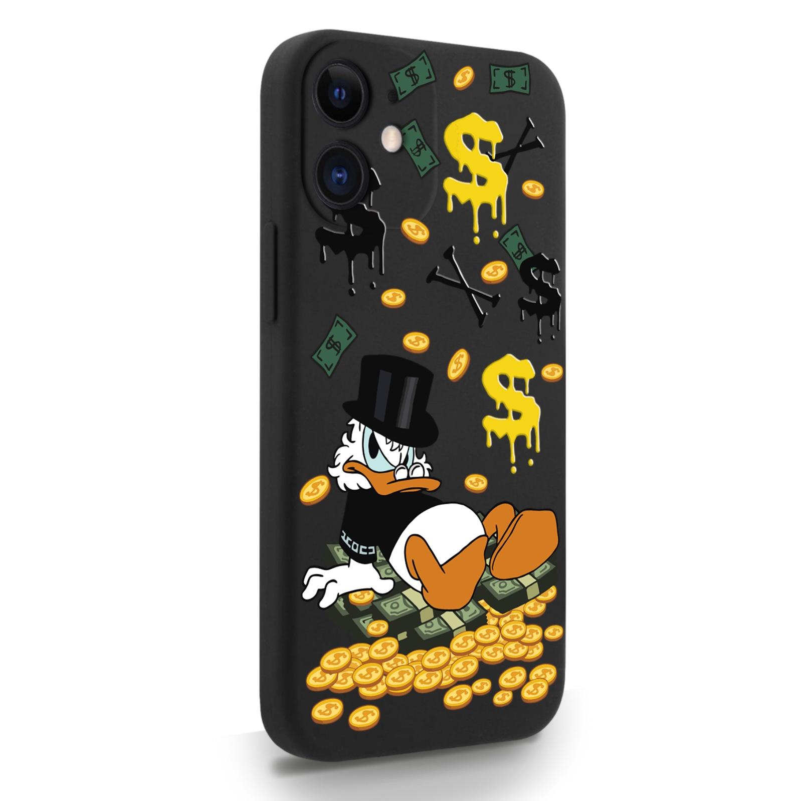 Черный силиконовый чехол для iPhone 12 Mini Богатенькая Утка для Айфон 12 Мини