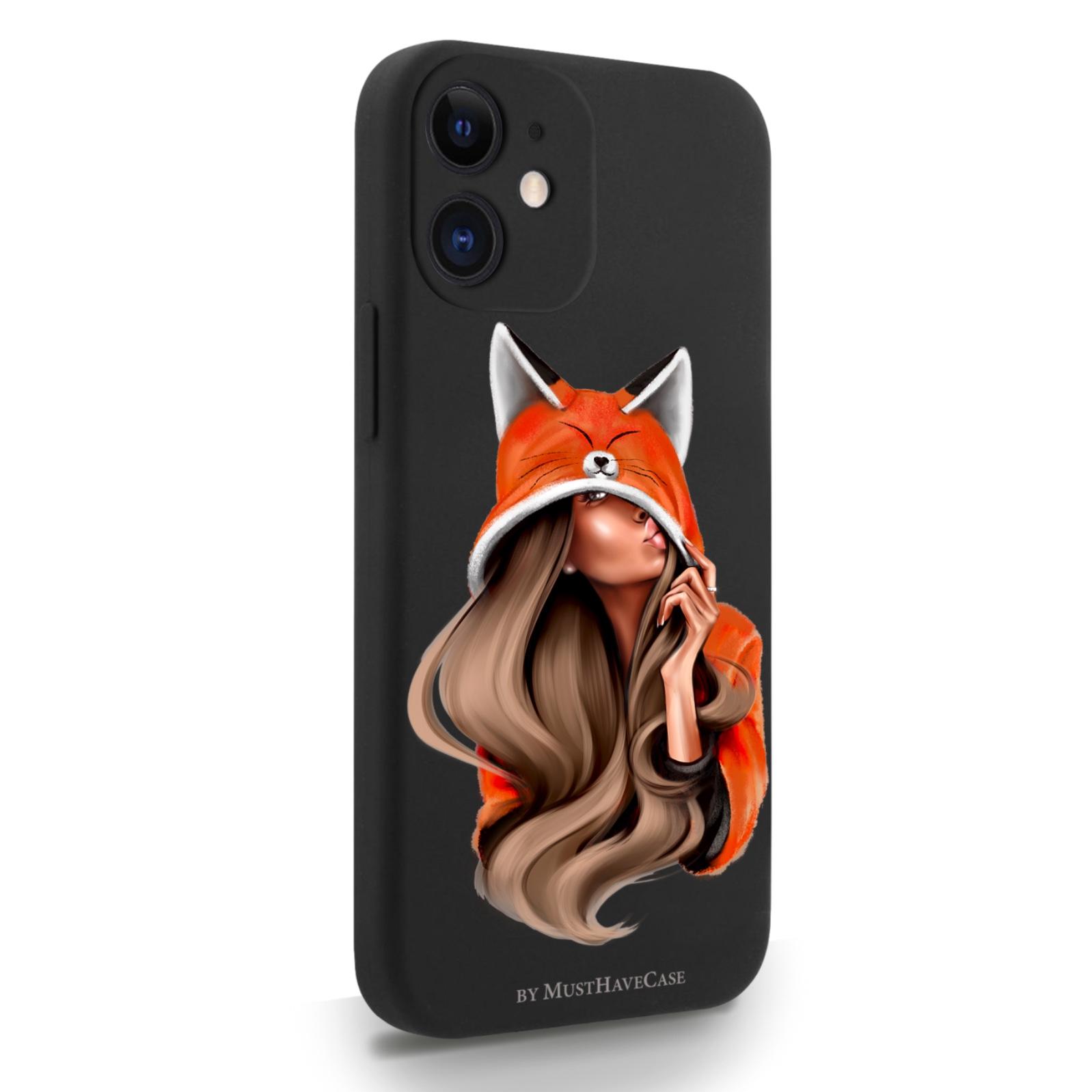 Черный силиконовый чехол для iPhone 12 Mini Foxy Girl/ Лисичка для Айфон 12 Мини