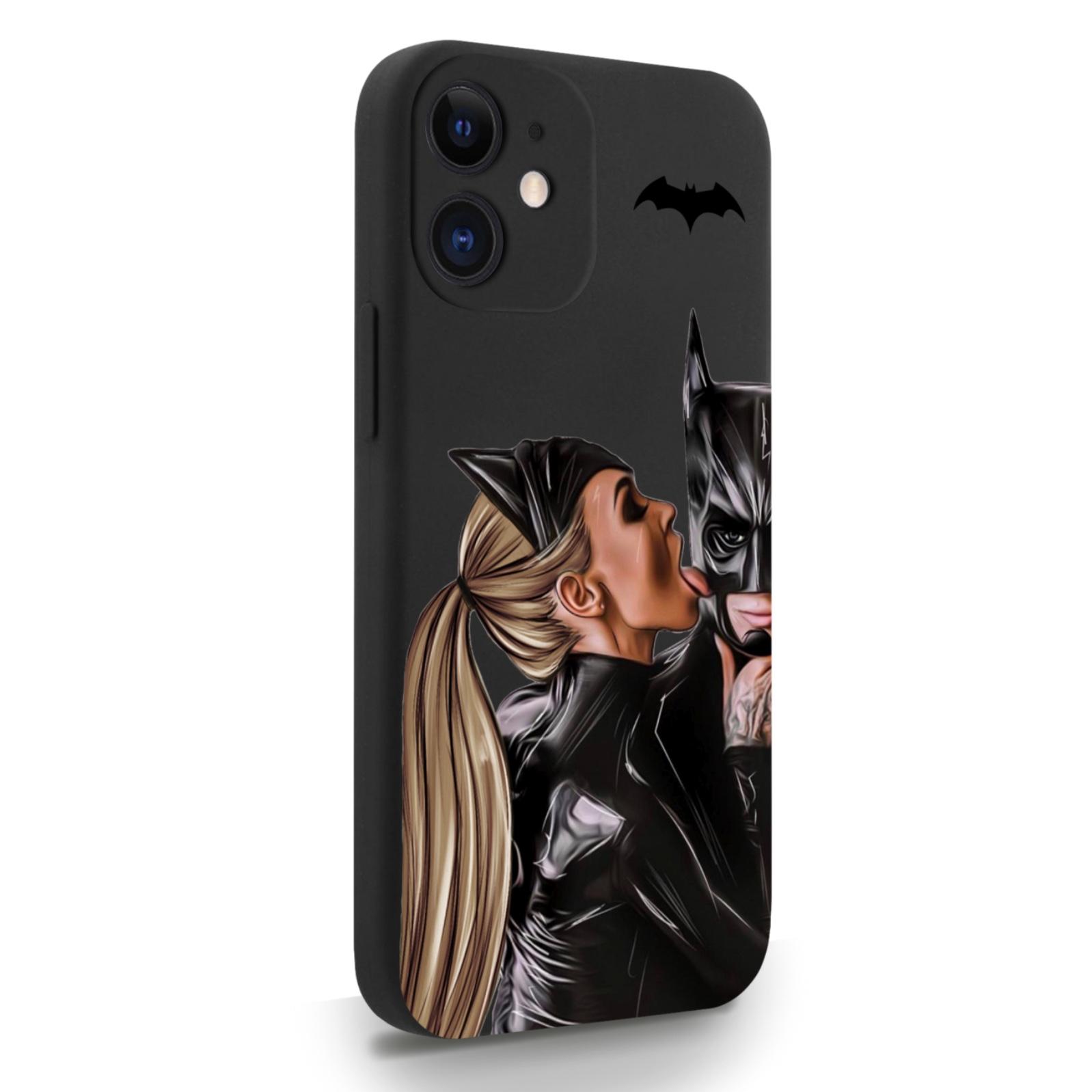 Черный силиконовый чехол для iPhone 12 Mini Cat Woman/ Женщина-кошка и бэтмен для Айфон 12 Мини