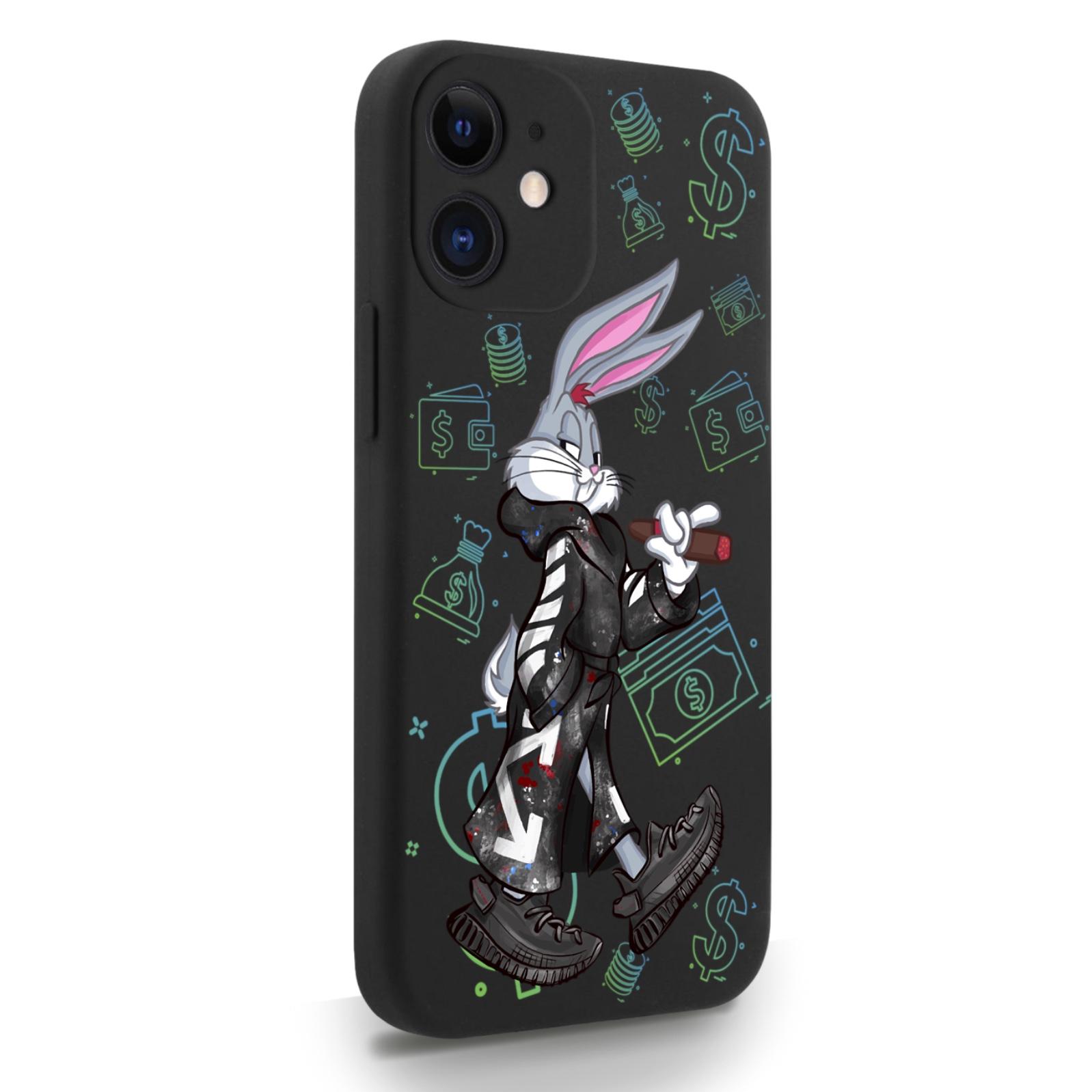 Черный силиконовый чехол для iPhone 12 Mini Mr. Rich Bunny Neon/ Мистер Богатый Заяц Неон для Айфон 12 Мини