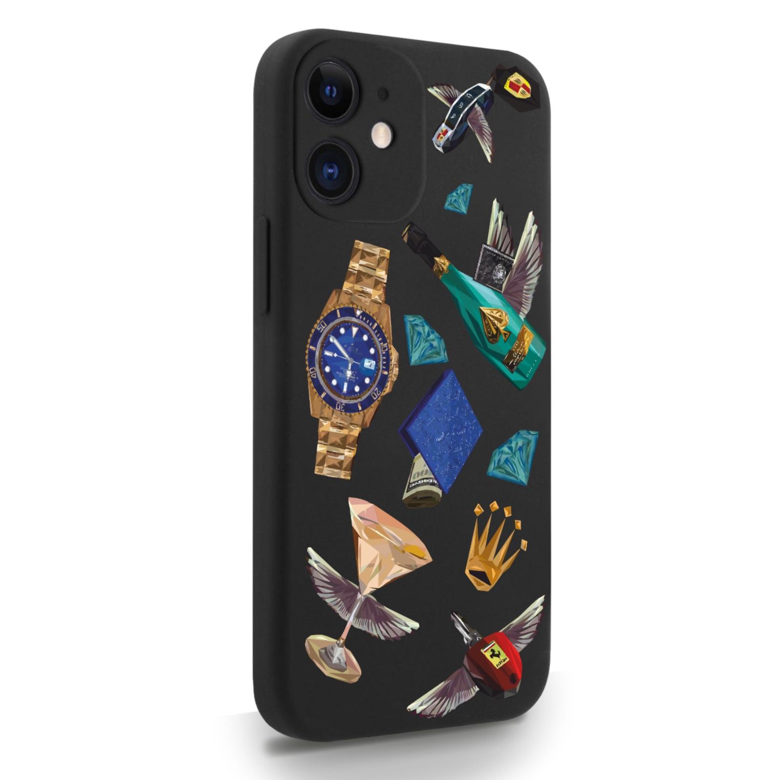 Черный силиконовый чехол для iPhone 12 Mini Luxury lifestyle для Айфон 12 Мини