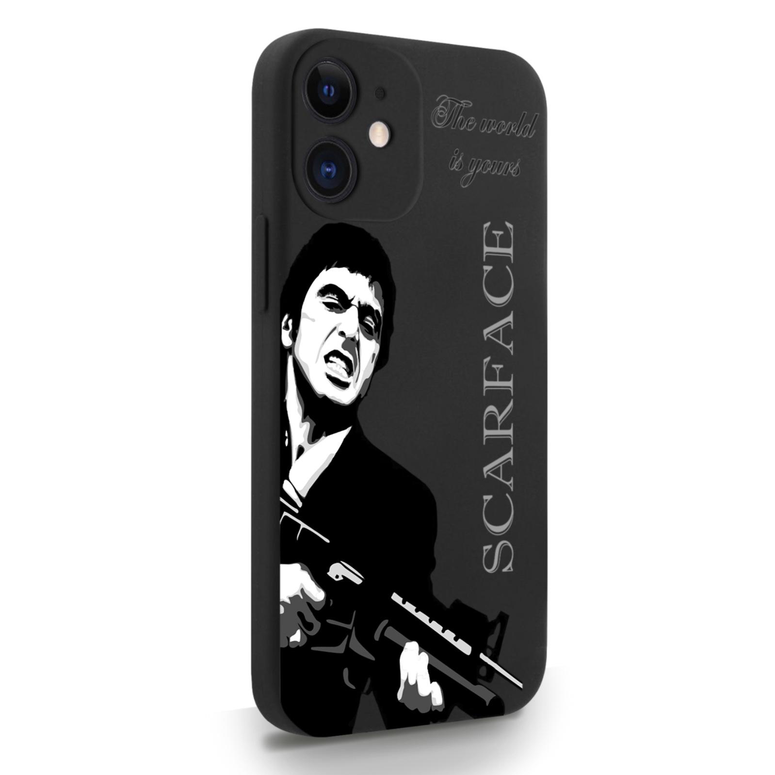 Черный силиконовый чехол для iPhone 12 Mini Scarface Tony Montana/ Лицо со шрамом для Айфон 12 Мини