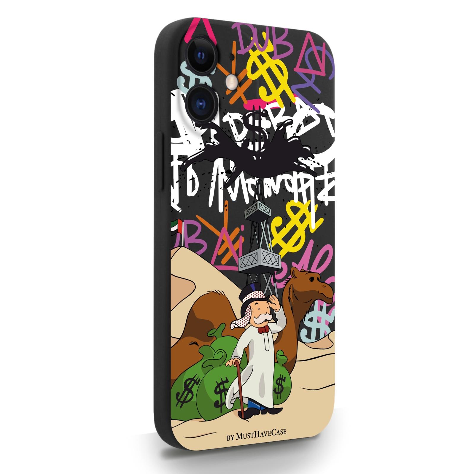 Черный силиконовый чехол для iPhone 12 Mini Monopoly Dubai/ Дубай для Айфон 12 Мини