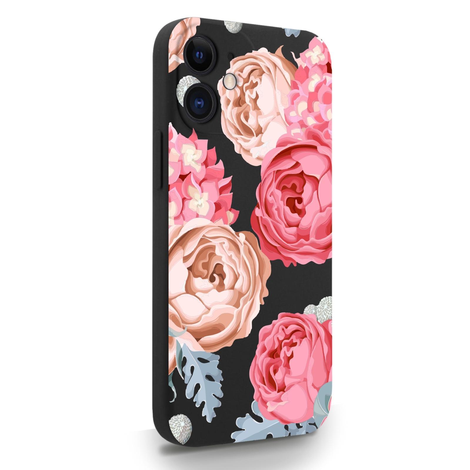 Черный силиконовый чехол для iPhone 12 Mini Пионы для Айфон 12 Мини