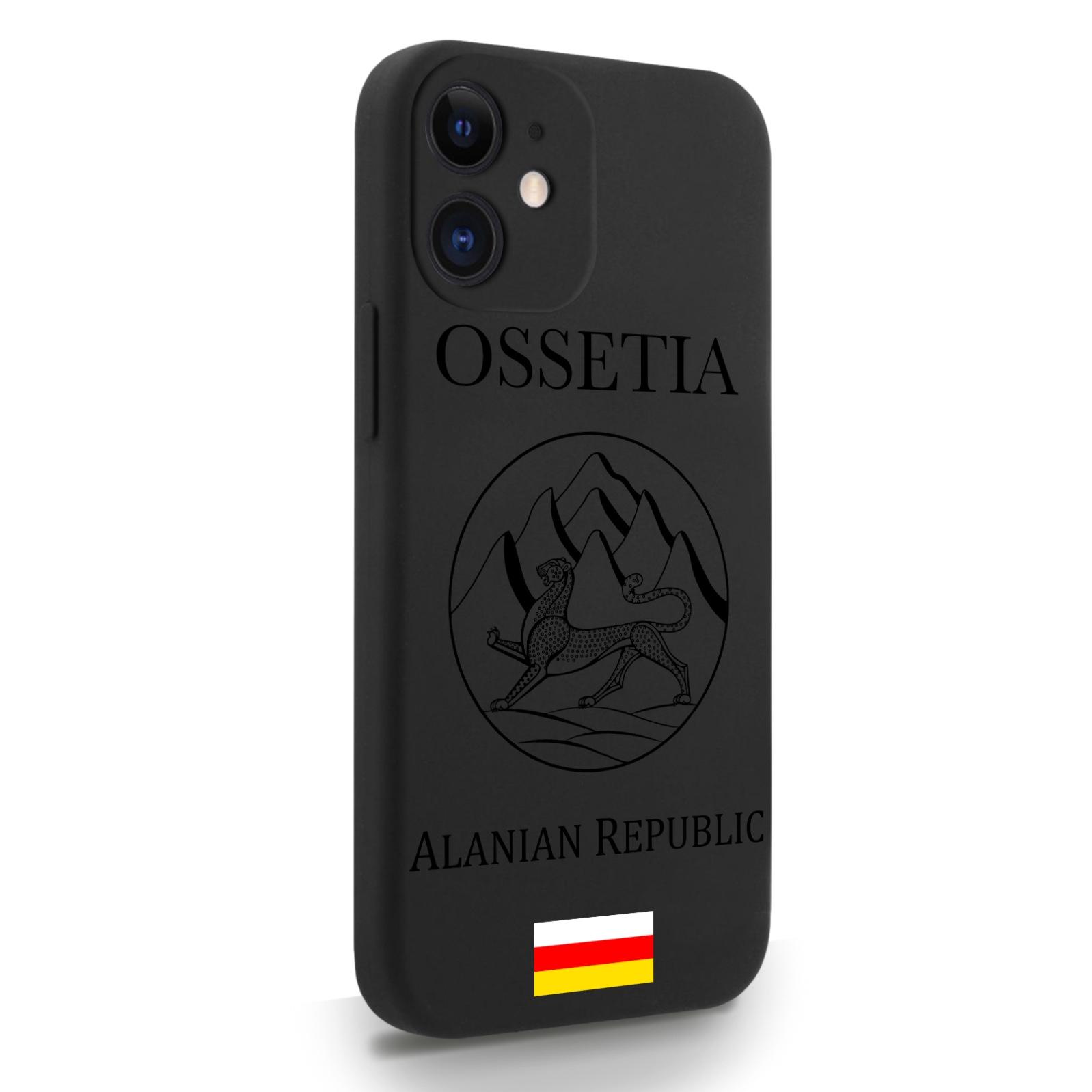 Черный силиконовый чехол для iPhone 12 Mini Черный лаковый Герб Северной Осетии для Айфон 12 Мини