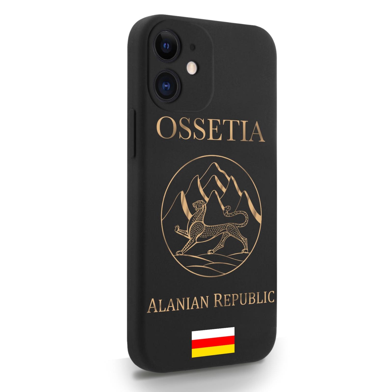 Черный силиконовый чехол для iPhone 12 Mini Золотой Герб Северной Осетии для Айфон 12 Мини