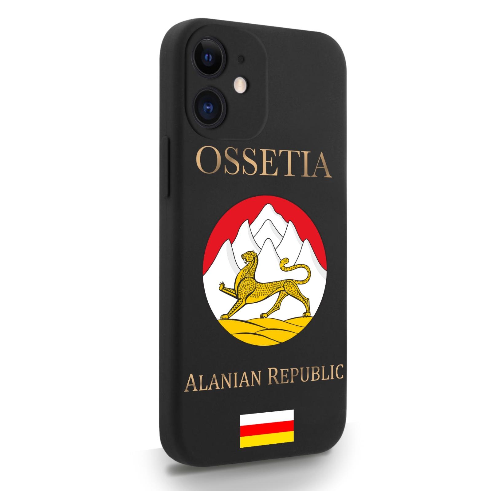 Черный силиконовый чехол для iPhone 12 Mini Герб Северной Осетии для Айфон 12 Мини